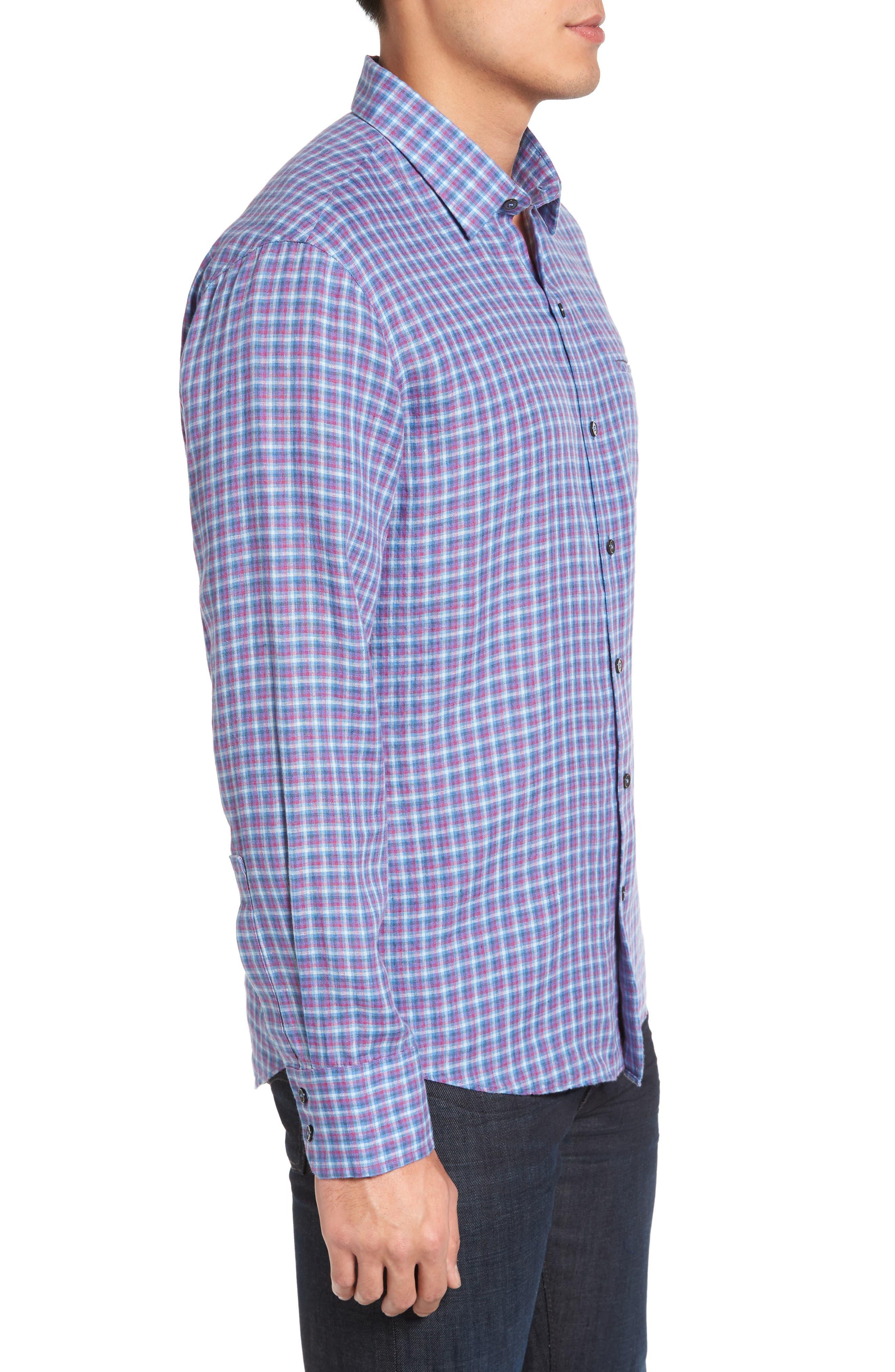 ZACHARY PRELL, Althoff Regular Fit Plaid Linen Sport Shirt, Alternate thumbnail 3, color, AZURE