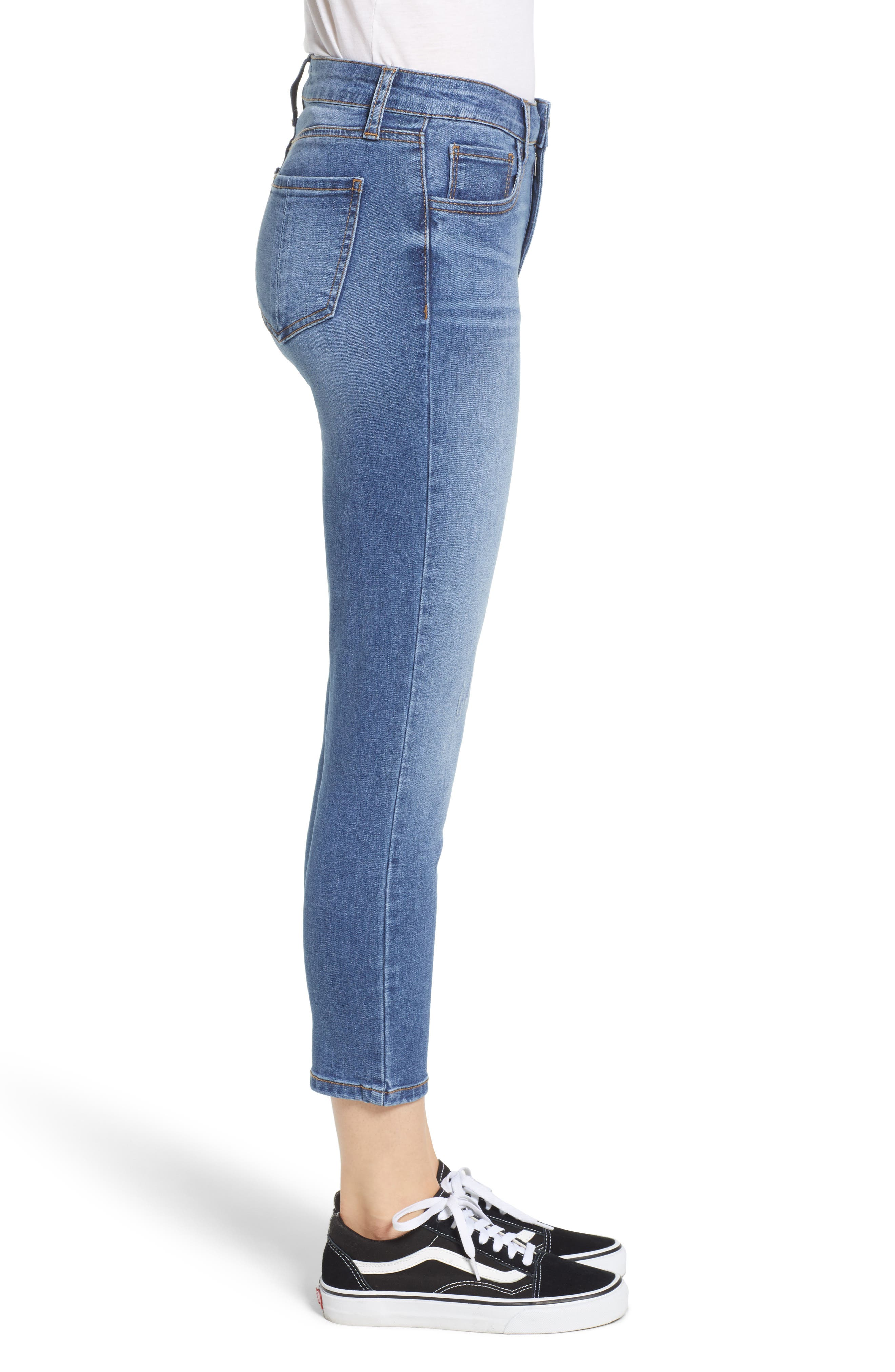 PROSPERITY DENIM, Crop Skinny Jeans, Alternate thumbnail 4, color, MEDIUM WASH