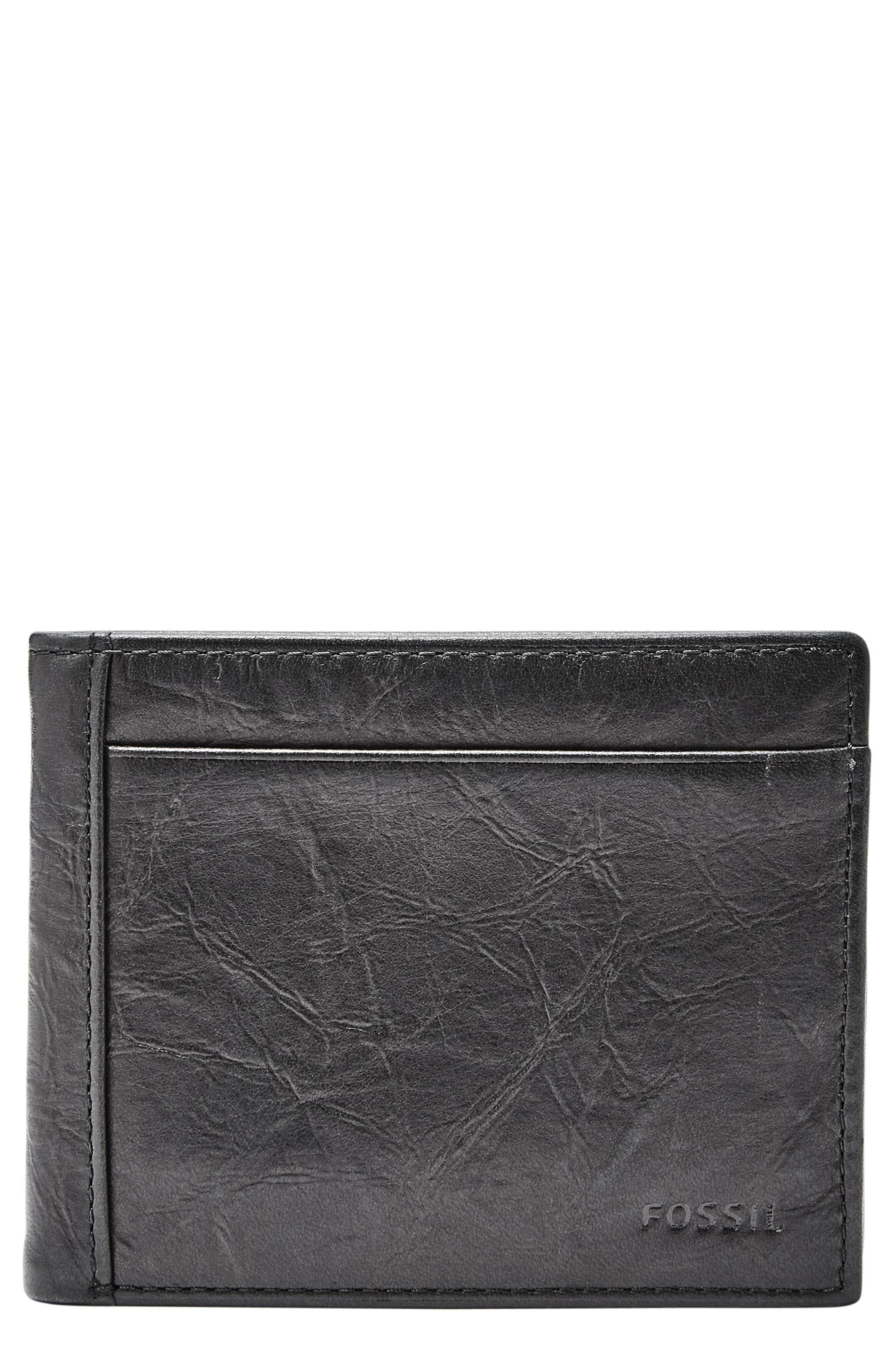FOSSIL, Leather Wallet, Main thumbnail 1, color, BLACK