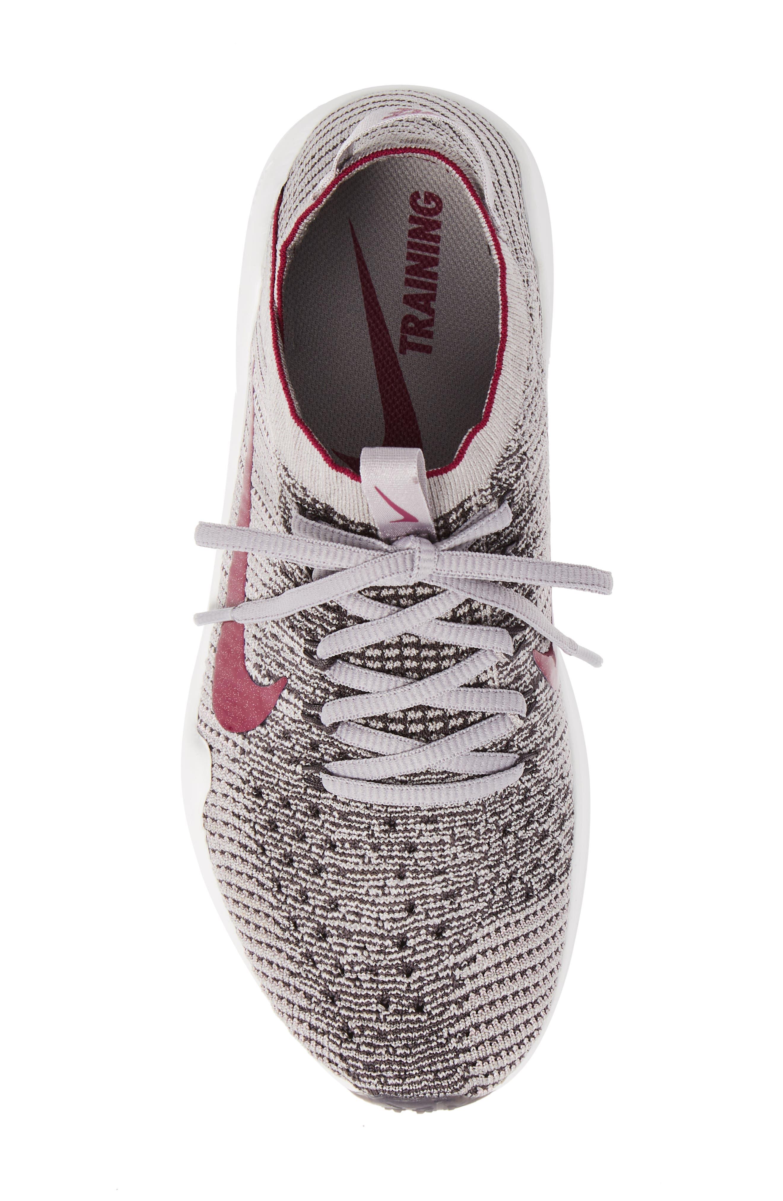 NIKE, Air Zoom Fearless Flyknit 2 Training Sneaker, Alternate thumbnail 5, color, GREY/ TRUE BERRY/ PLUM CHALK