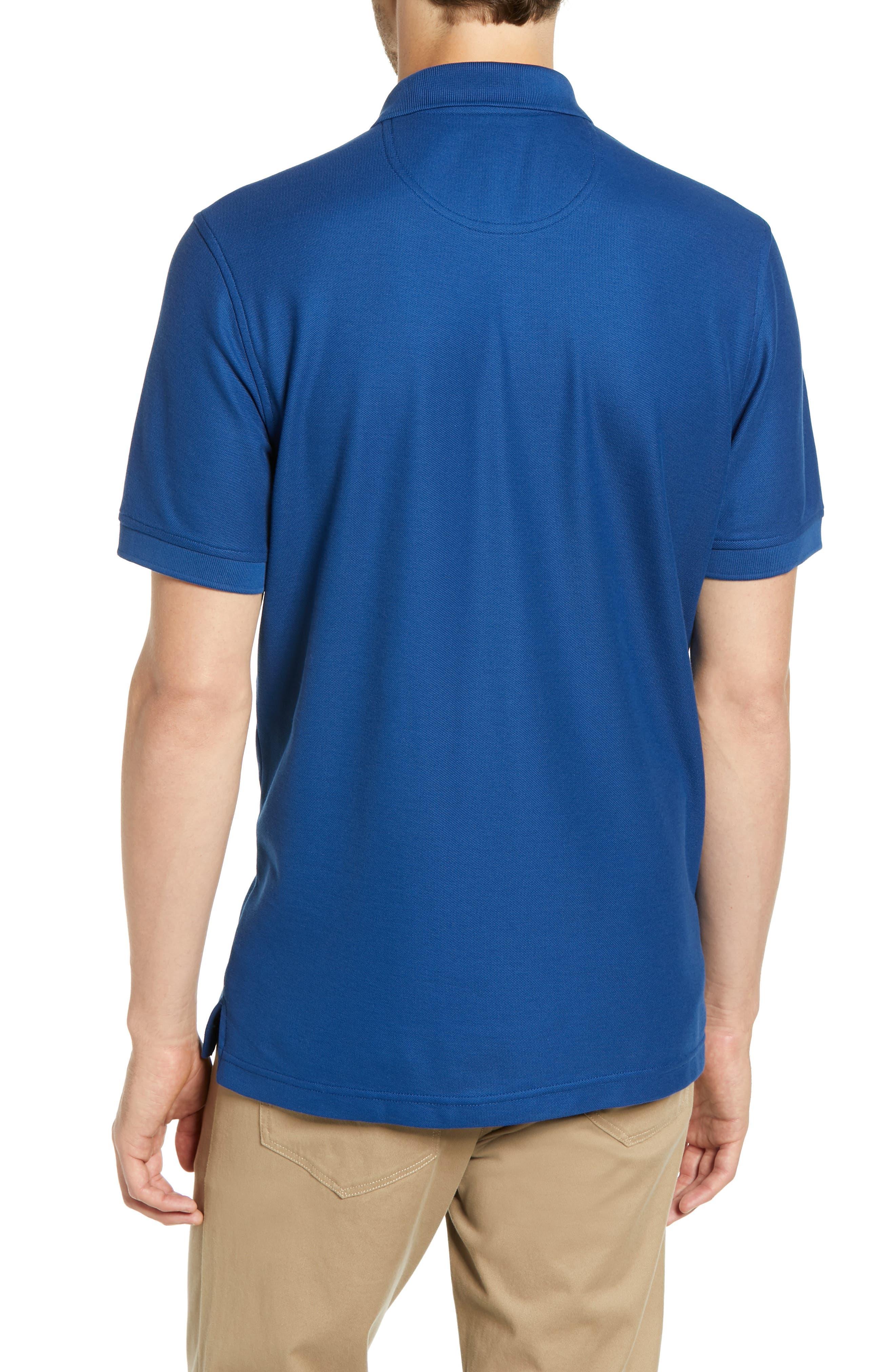 NORDSTROM MEN'S SHOP, Regular Fit Piqué Polo, Alternate thumbnail 2, color, BLUE CASPIA