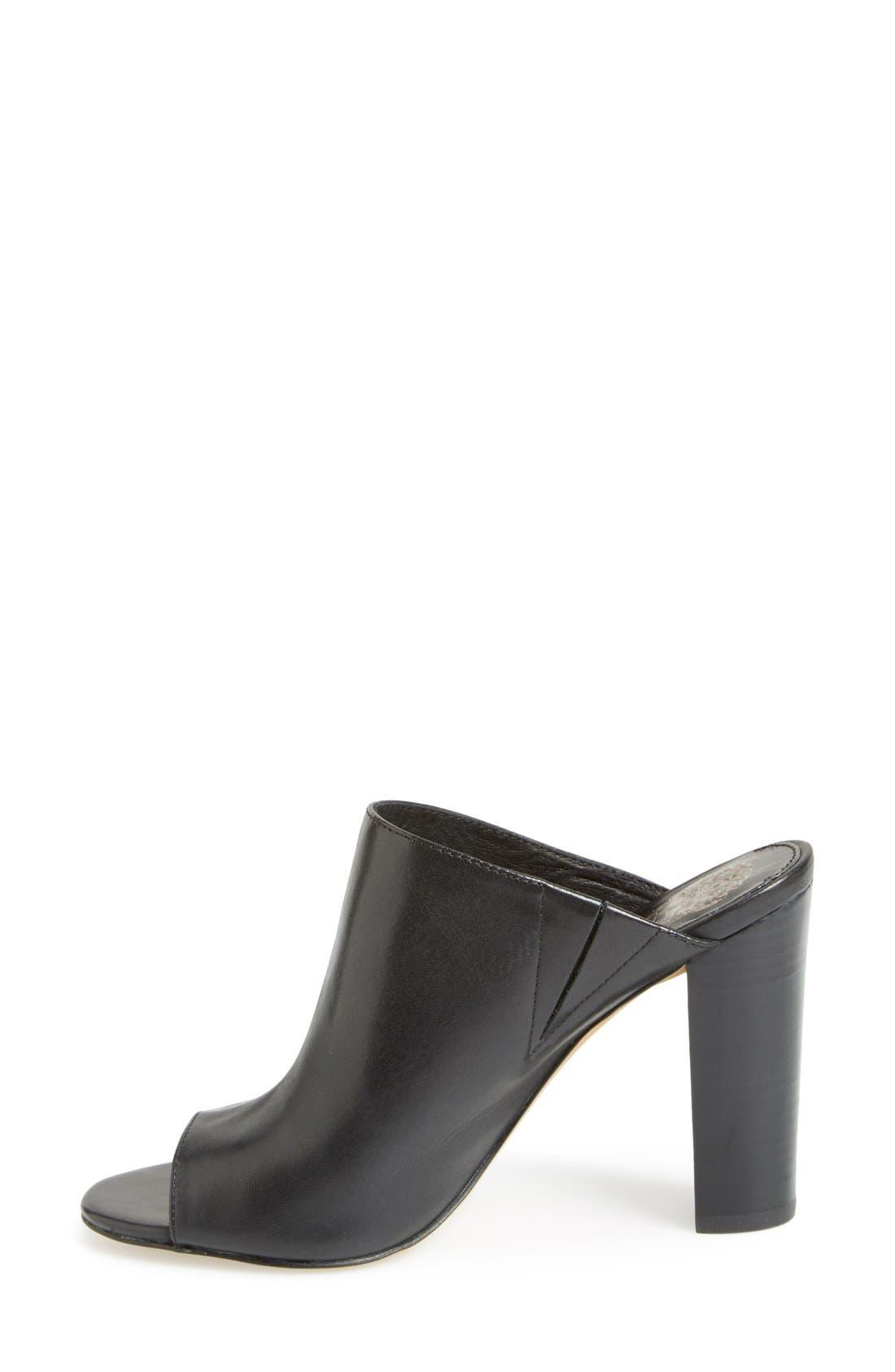 VINCE CAMUTO, 'Vestata' Leather Peep Toe Mule, Alternate thumbnail 3, color, 001