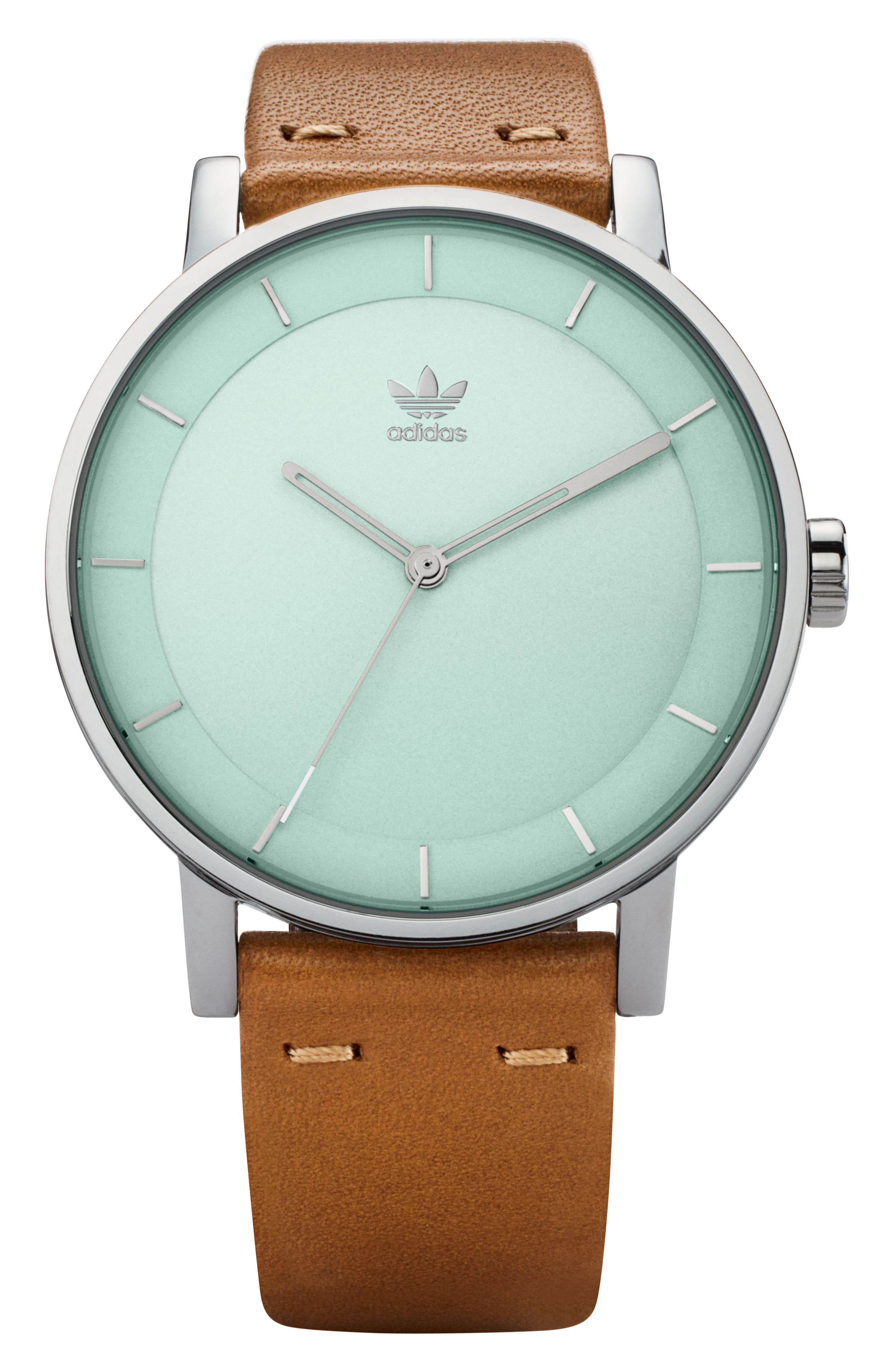 ADIDAS, District Leather Strap Watch, 40mm, Main thumbnail 1, color, TAN/ GREEN/ SILVER