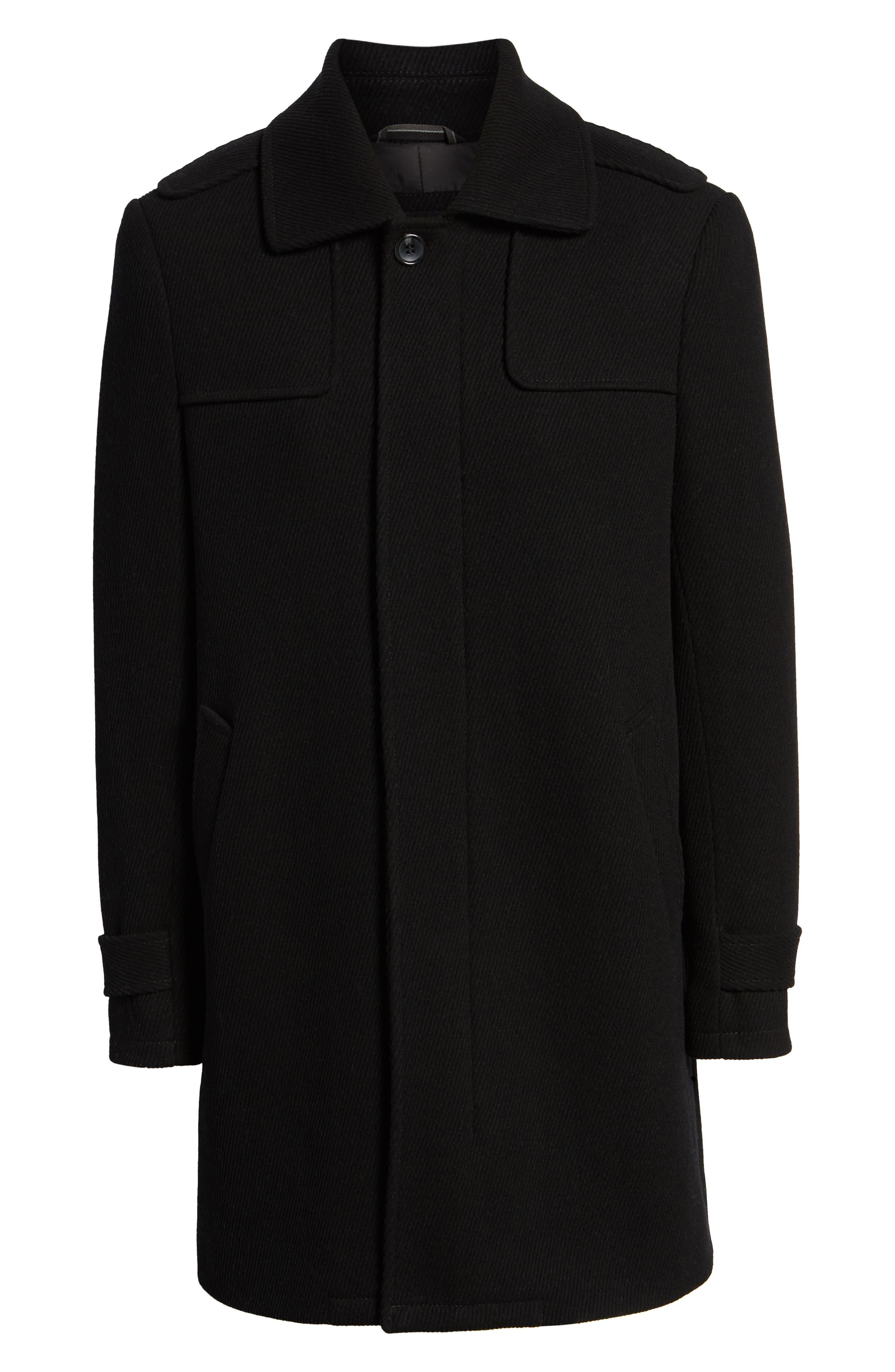 MARC NEW YORK, Edmund Wool Blend Twill Car Coat, Alternate thumbnail 5, color, BLACK