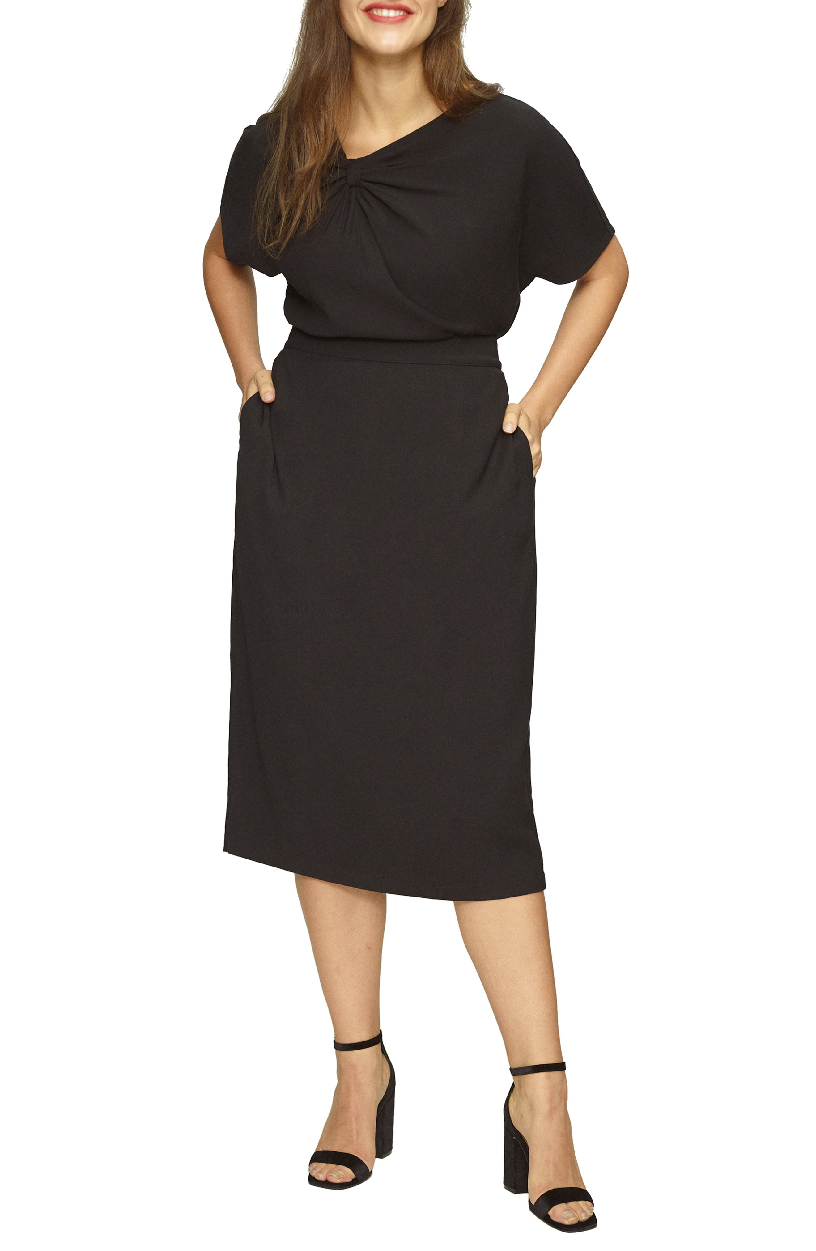 UNIVERSAL STANDARD, Twill Pencil Skirt, Main thumbnail 1, color, 001