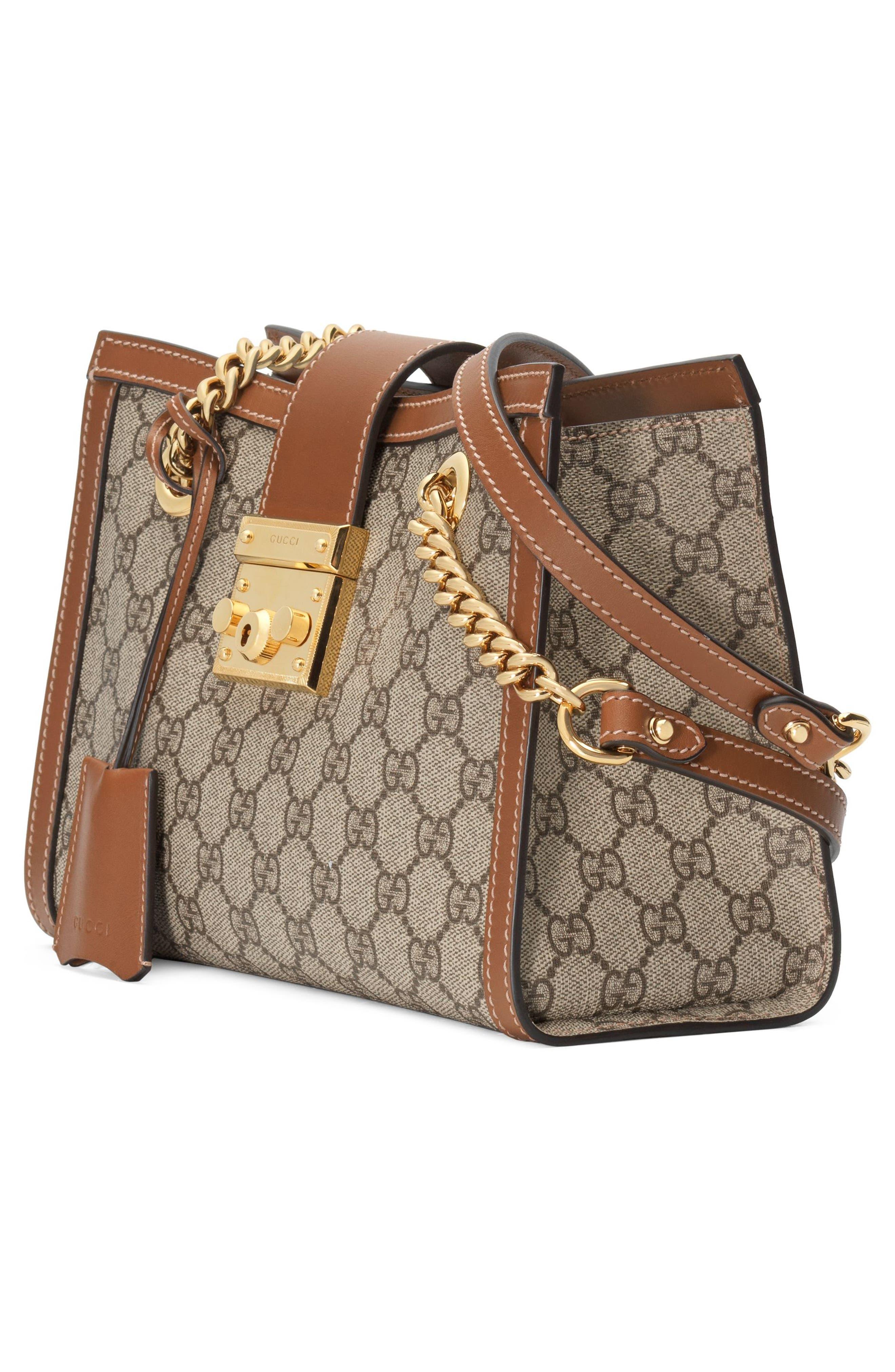 GUCCI, Small Padlock GG Supreme Shoulder Bag, Alternate thumbnail 4, color, BEIGE EBONY/ TUSCANY