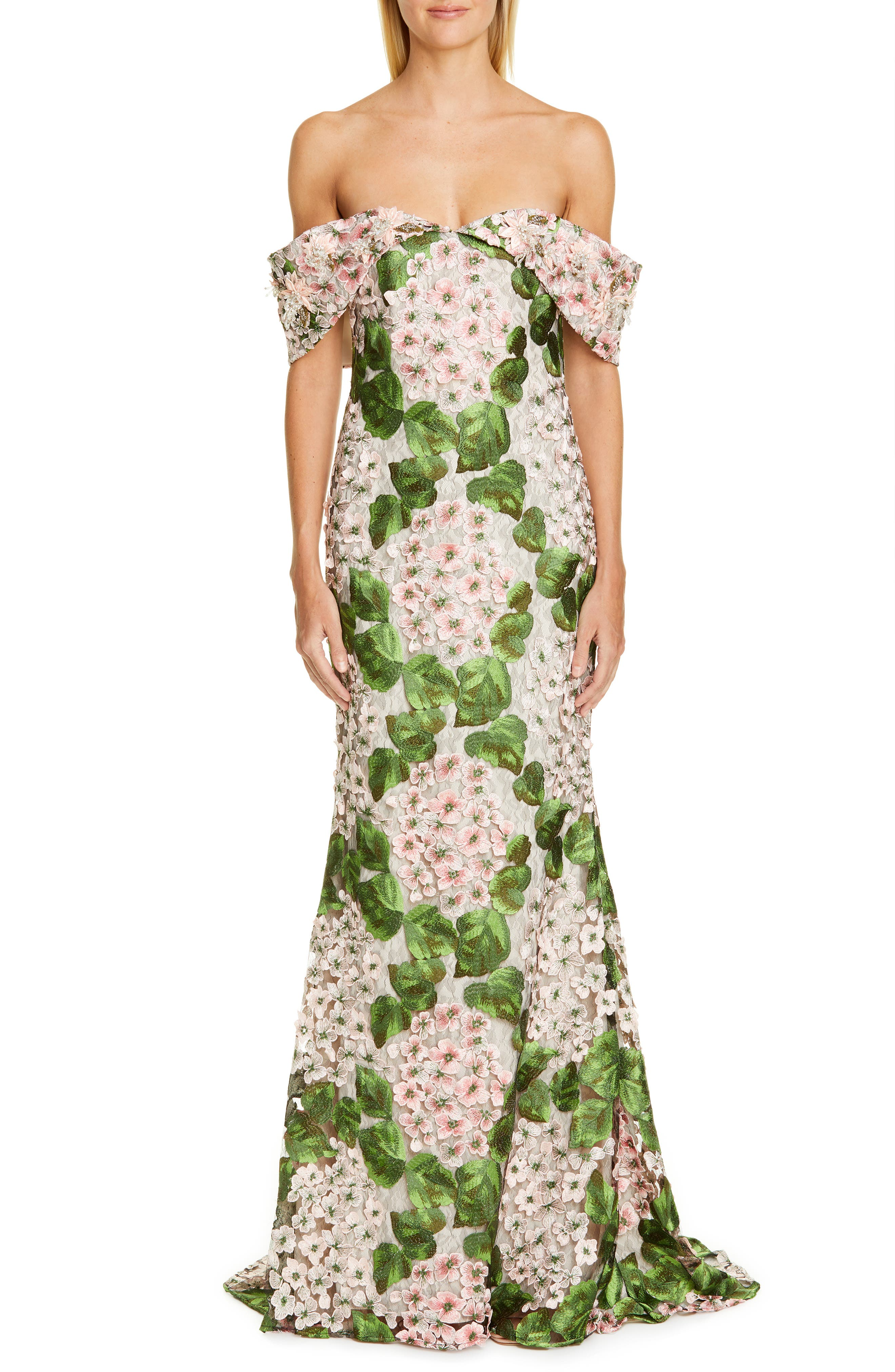 Badgley Mischka Couture Off The Shoulder Floral Embellished Gown, Pink