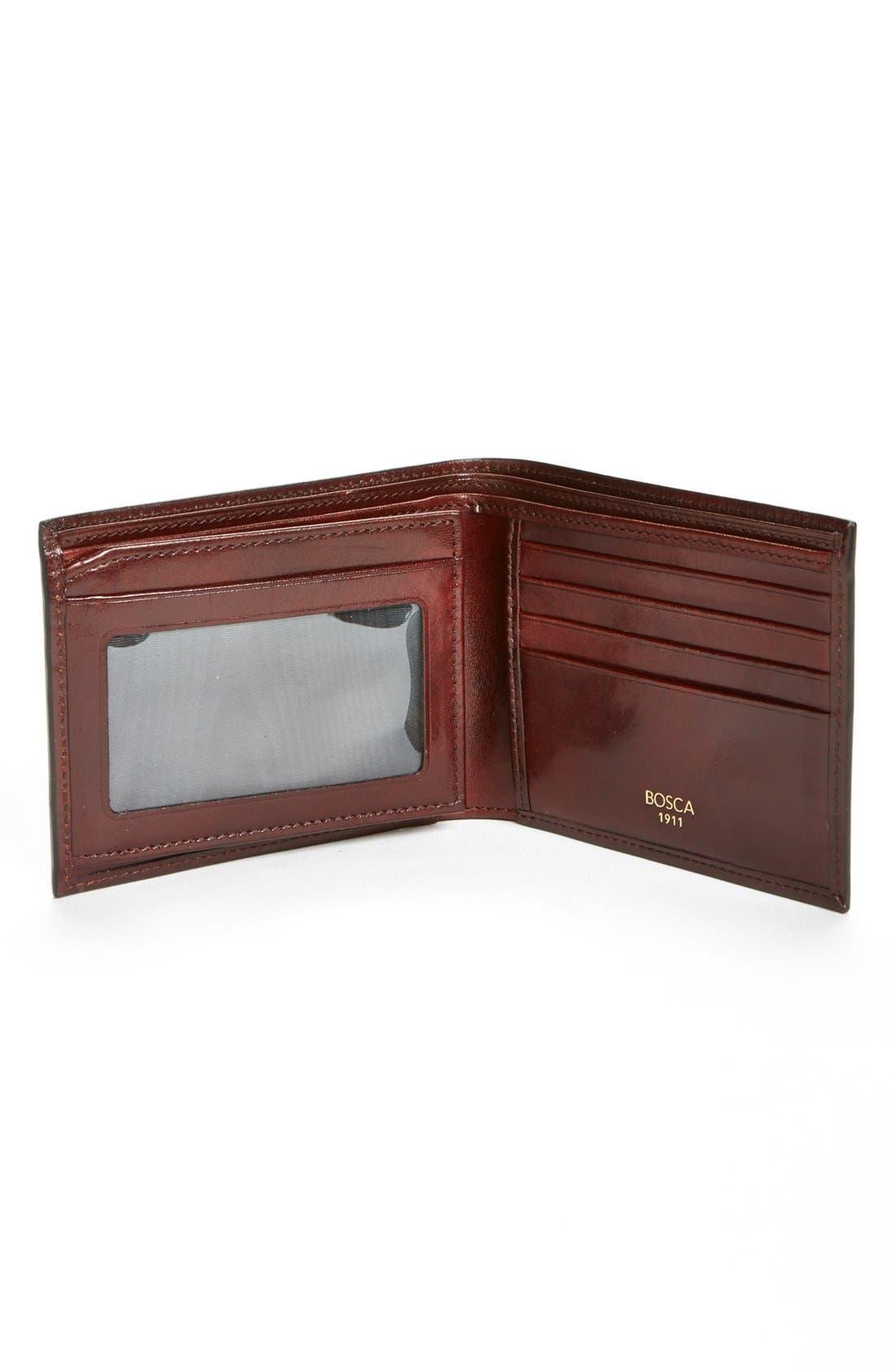 BOSCA, ID Flap Leather Wallet, Alternate thumbnail 3, color, DARK BROWN