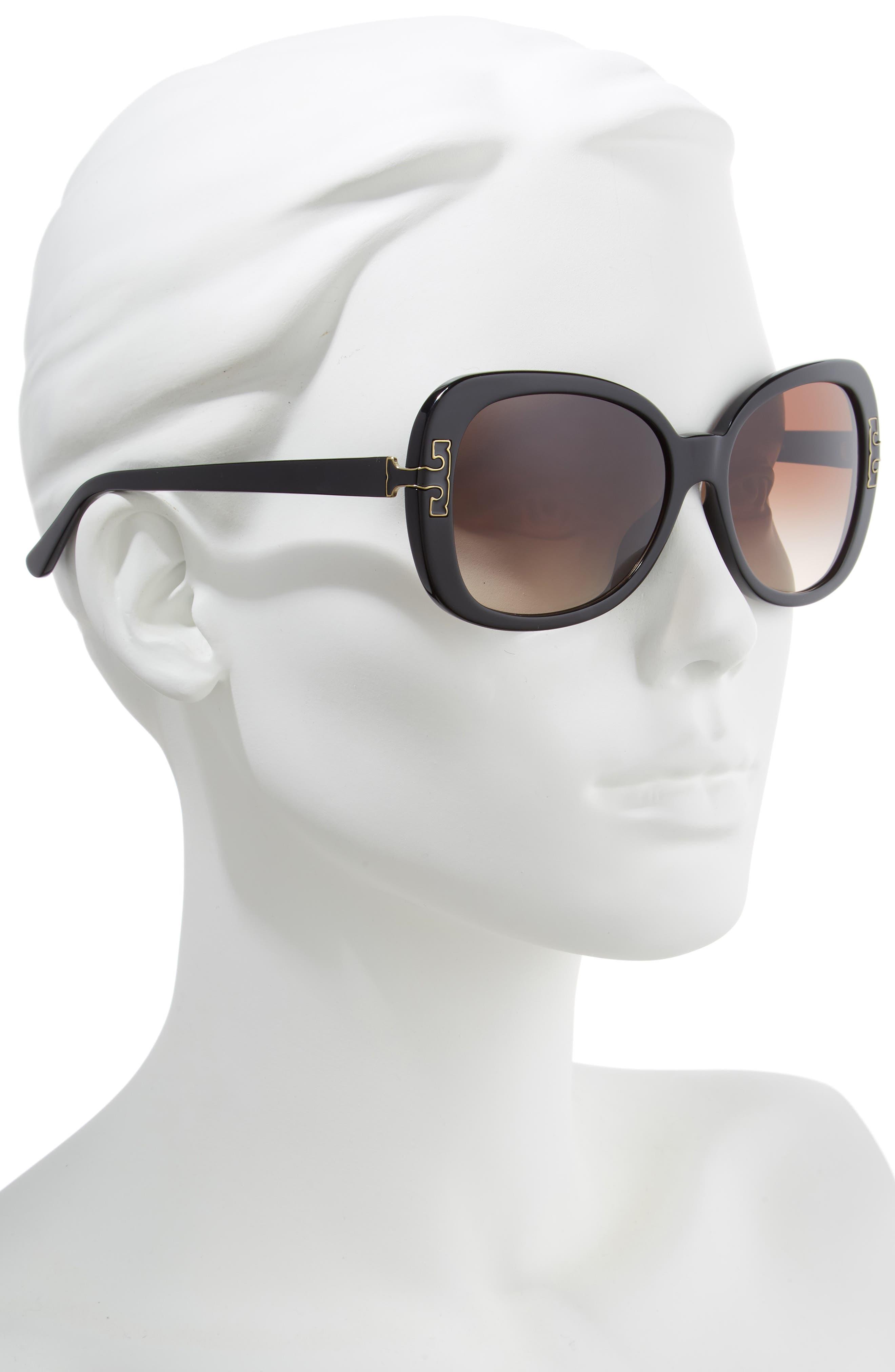 TORY BURCH, 57mm Logo T Square Sunglasses, Alternate thumbnail 2, color, BLACK GRADIENT