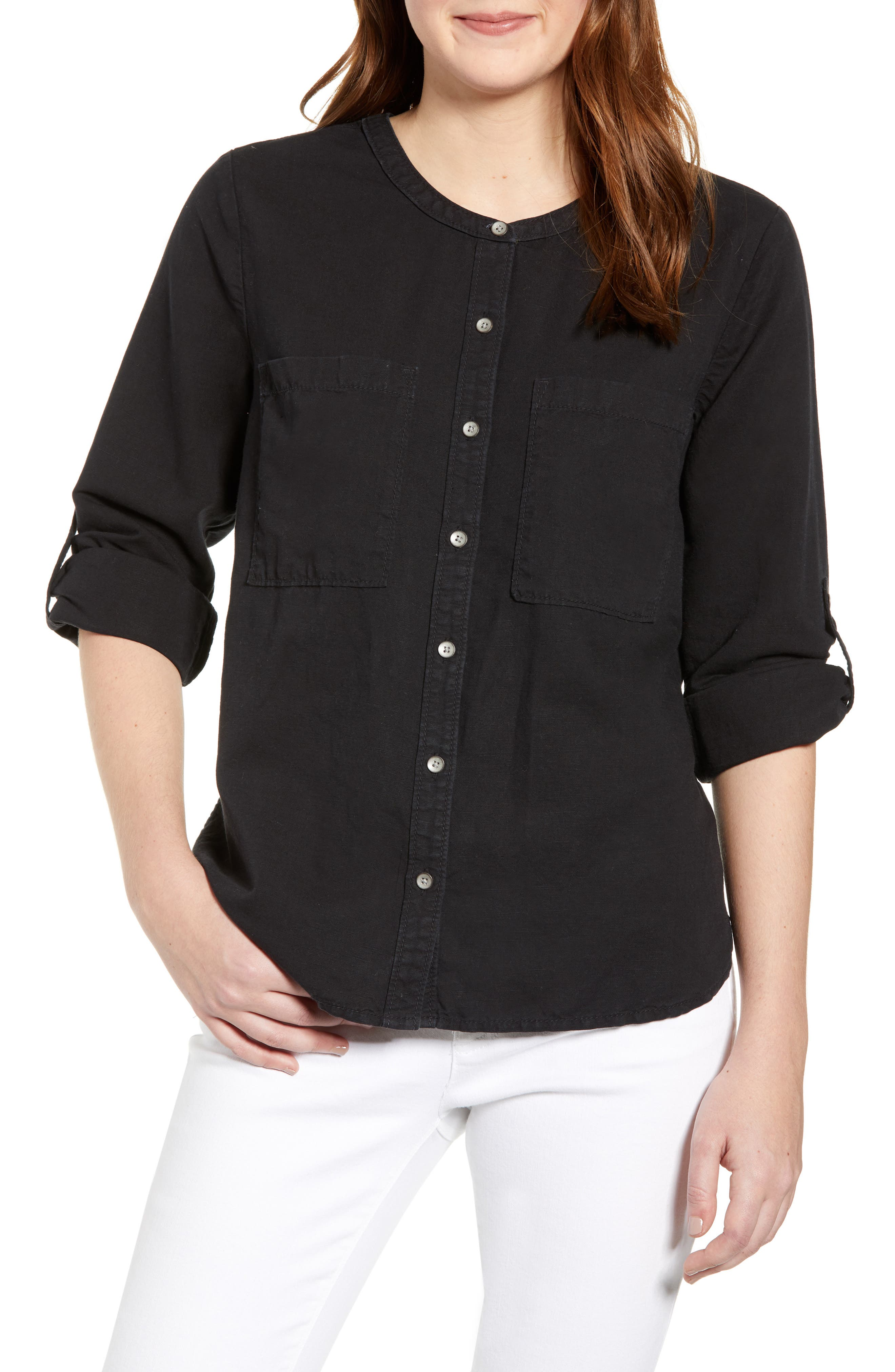 CASLON<SUP>®</SUP>, Long Sleeve Top, Main thumbnail 1, color, BLACK