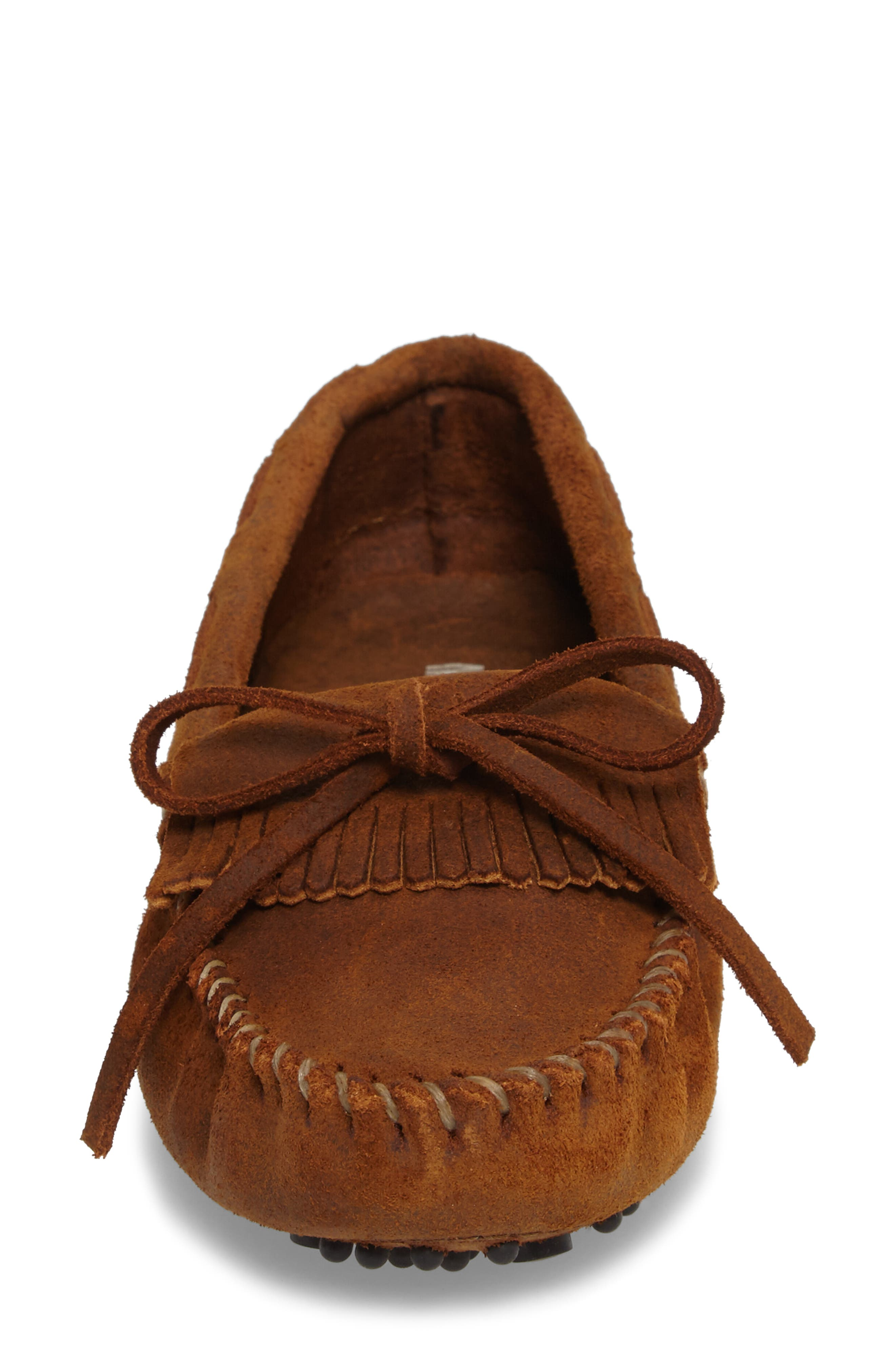 MINNETONKA, Kilty Driving Moccasin, Alternate thumbnail 4, color, BROWN RUFF