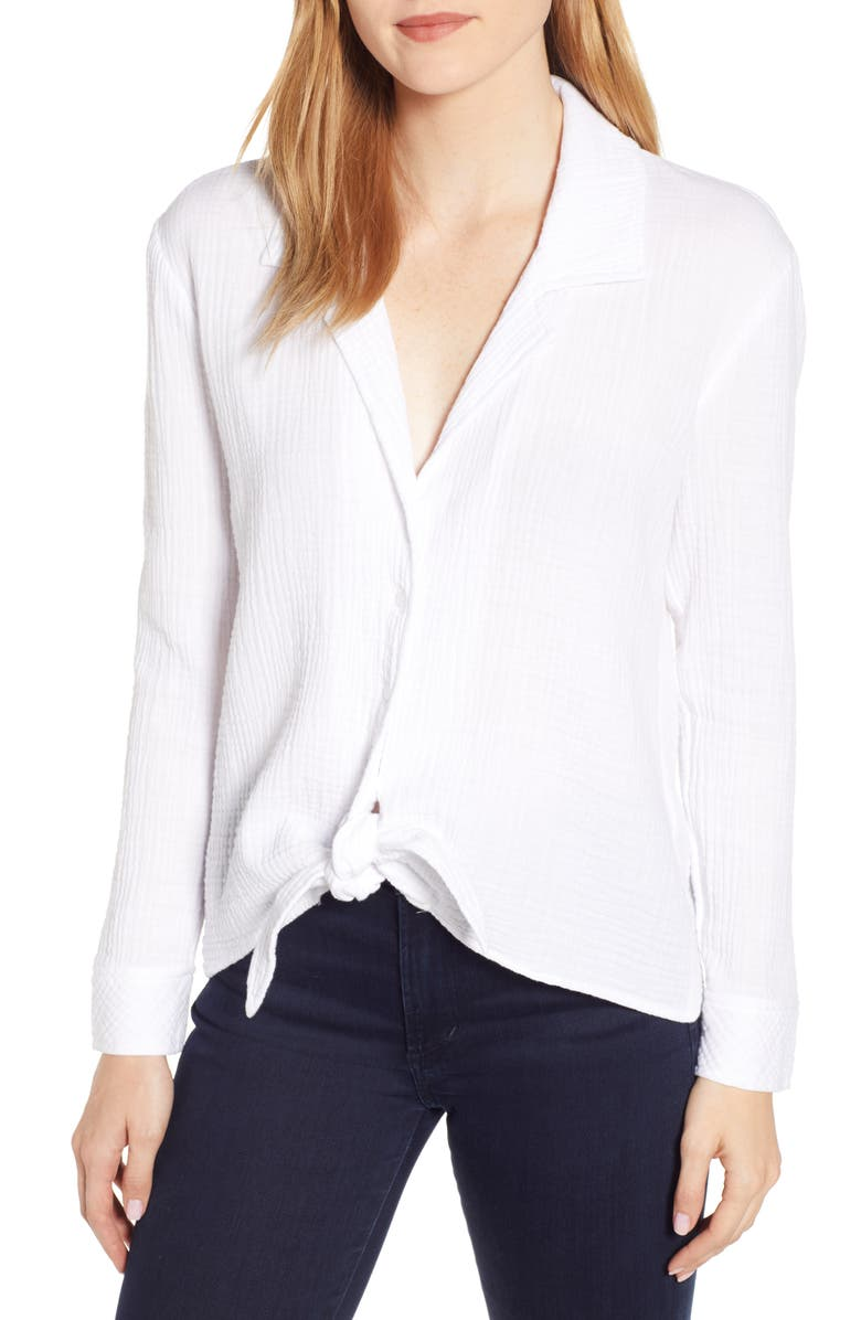1.state Tops BUTTON-UP TIE FRONT TOP