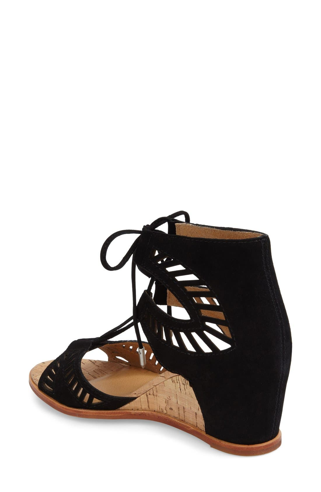 DOLCE VITA, 'Linsey' Lace-Up Wedge Sandal, Alternate thumbnail 4, color, 001