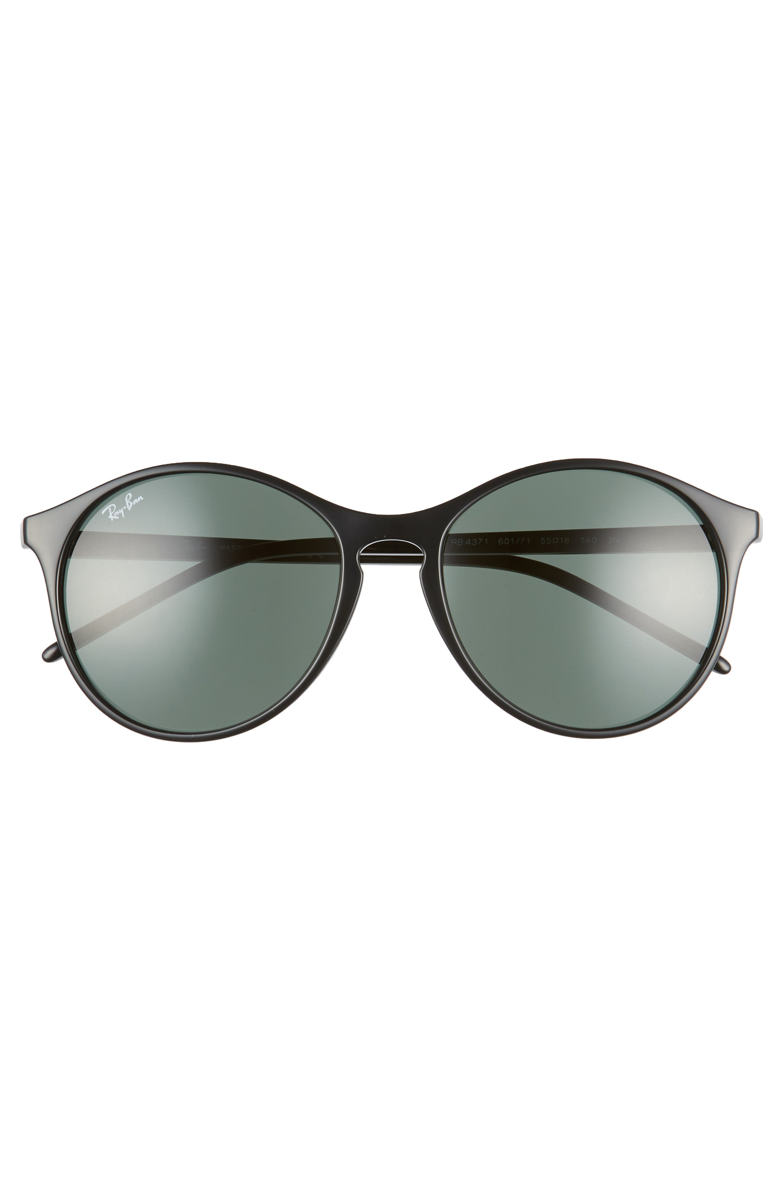 RAY-BAN, Highstreet 55mm Round Sunglasses, Alternate thumbnail 3, color, BLACK/ GREEN SOLID