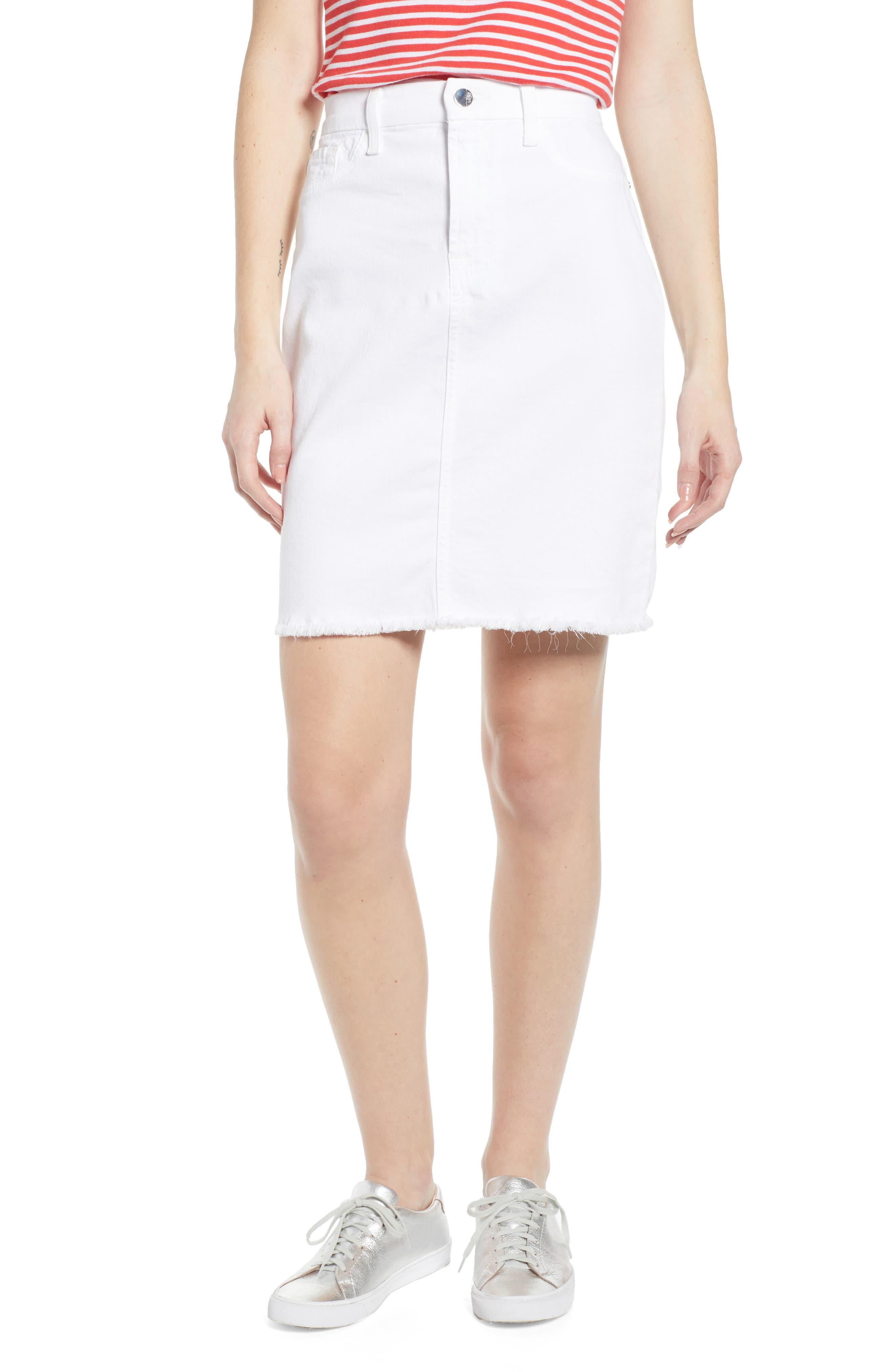 JEN7 BY 7 FOR ALL MANKIND, Frayed Hem Denim Pencil Skirt, Main thumbnail 1, color, WHITE