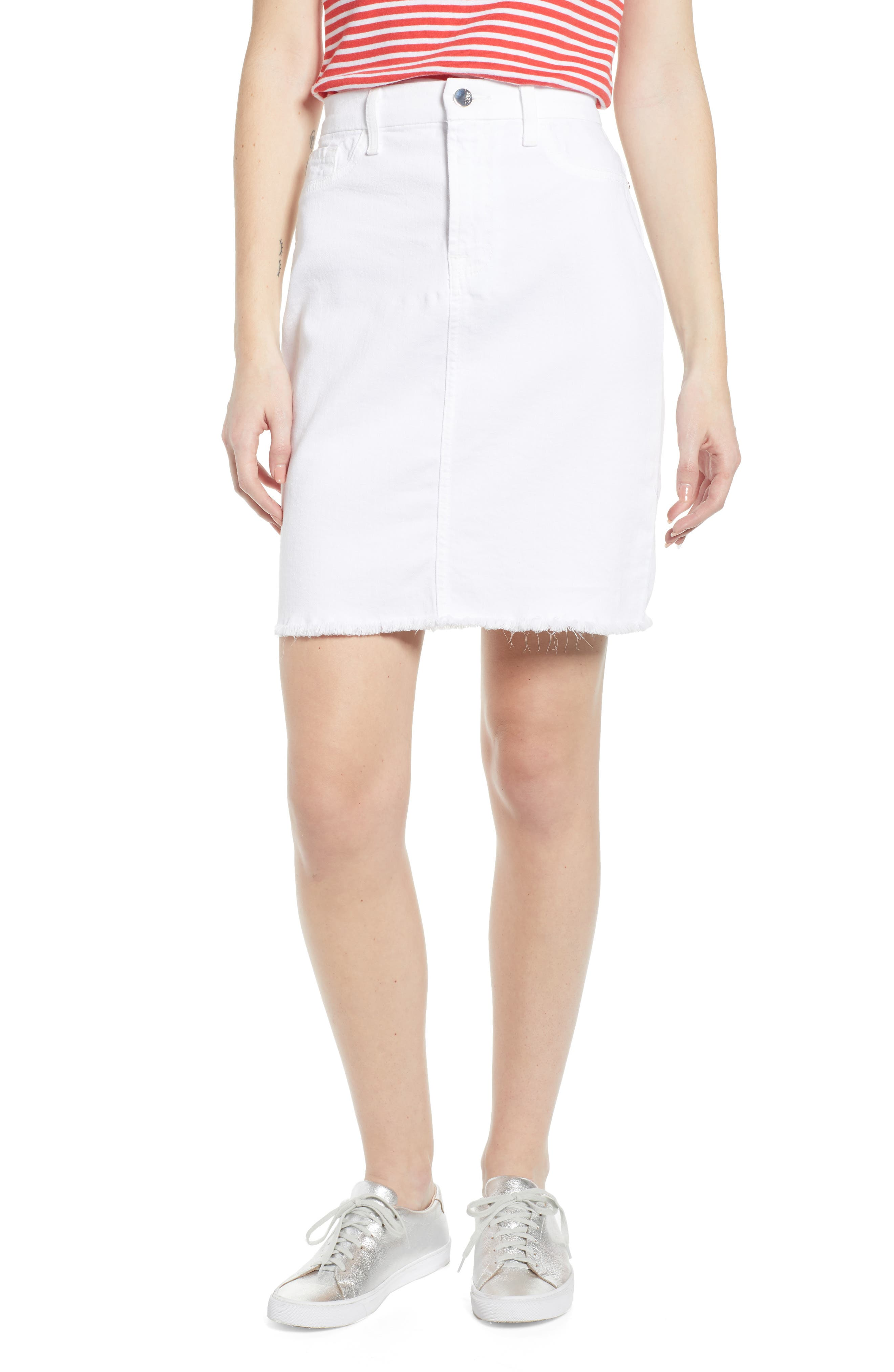 JEN7 BY 7 FOR ALL MANKIND Frayed Hem Denim Pencil Skirt, Main, color, WHITE