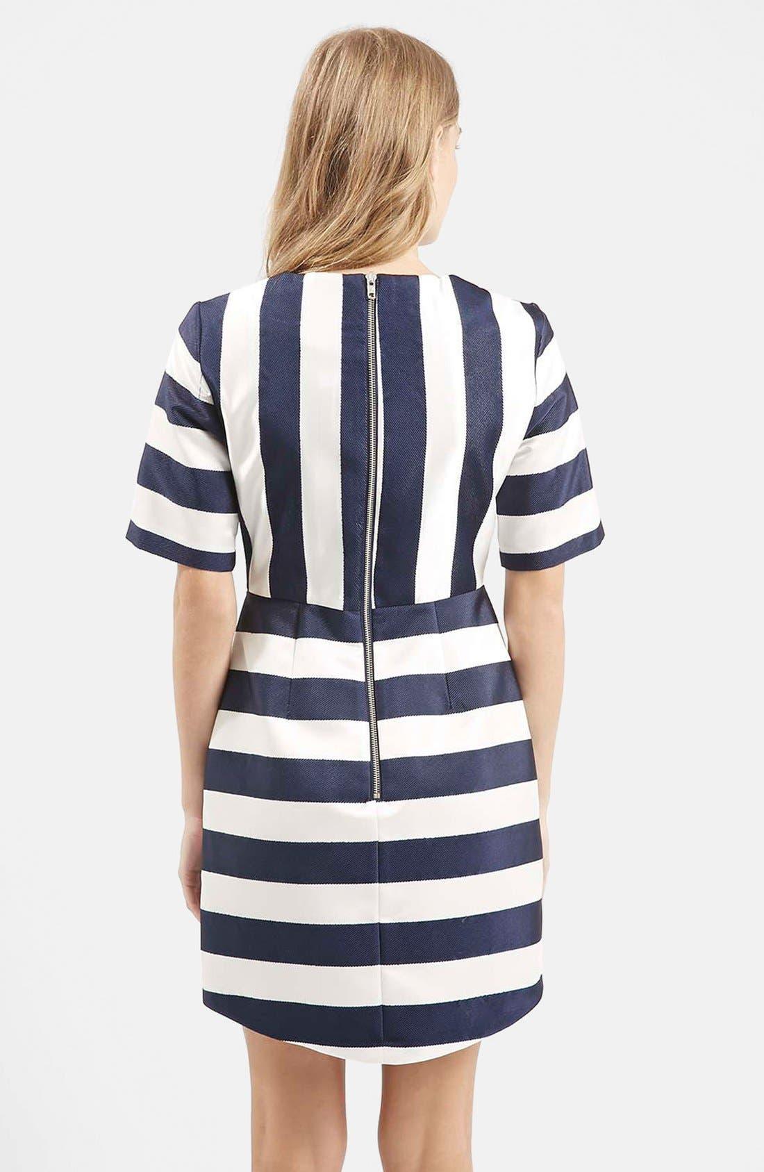 TOPSHOP, Twill & Satin Stripe Dress, Alternate thumbnail 4, color, 410