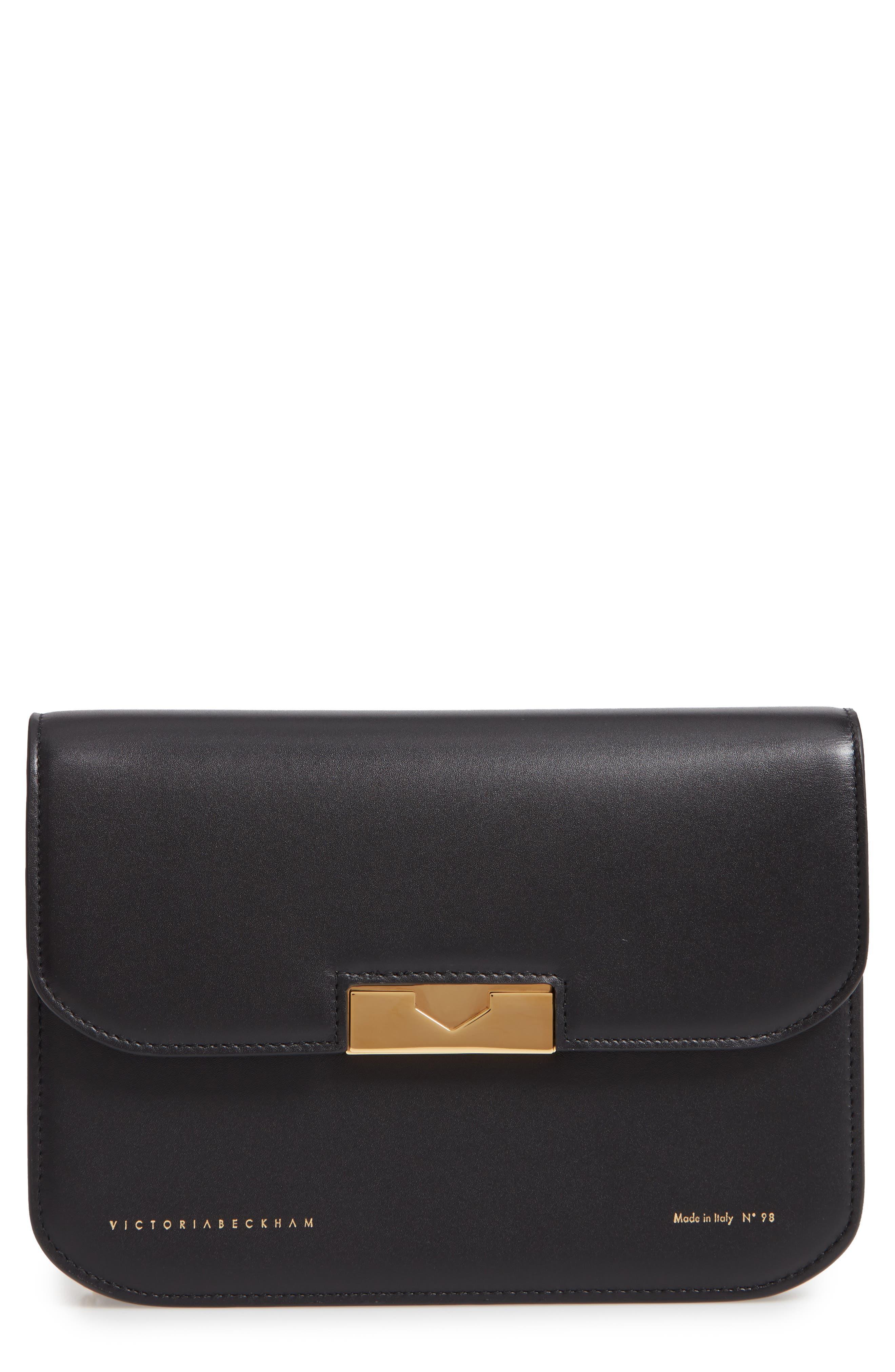 VICTORIA BECKHAM Eva Leather Clutch, Main, color, BLACK