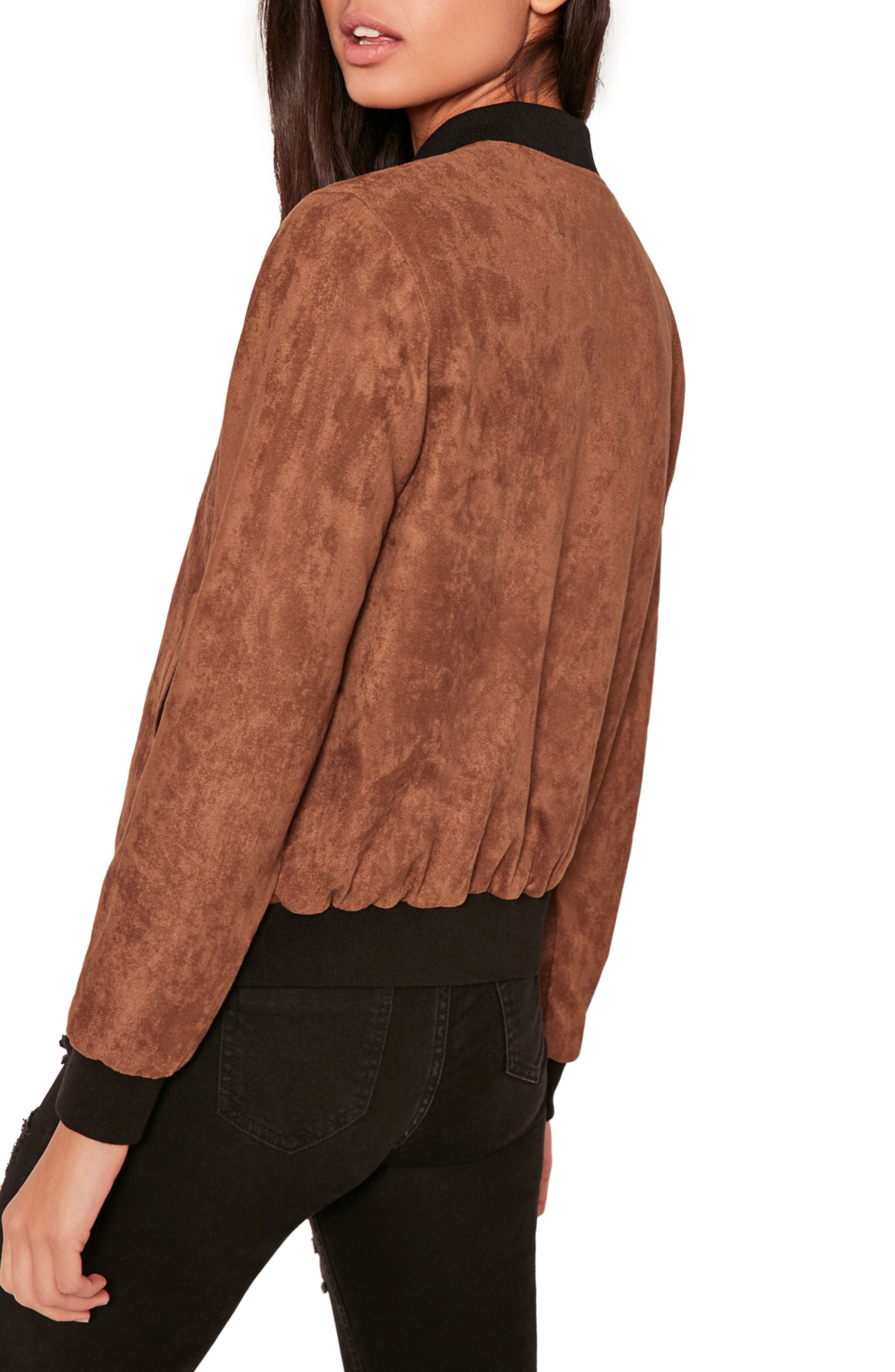 MISSGUIDED, Faux Suede Bomber Jacket, Alternate thumbnail 3, color, 808
