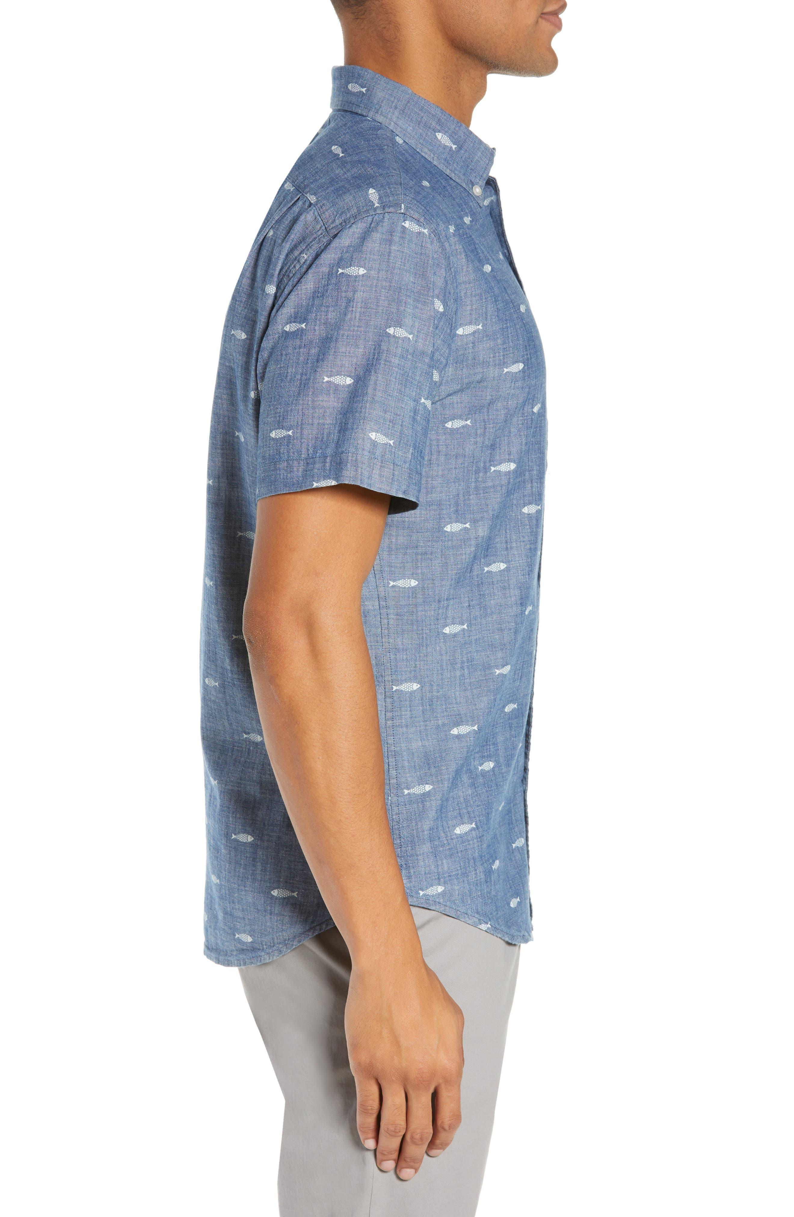 BONOBOS, Riviera Slim Fit Print Sport Shirt, Alternate thumbnail 4, color, CHAMBRAY SARDEEN SCATTER