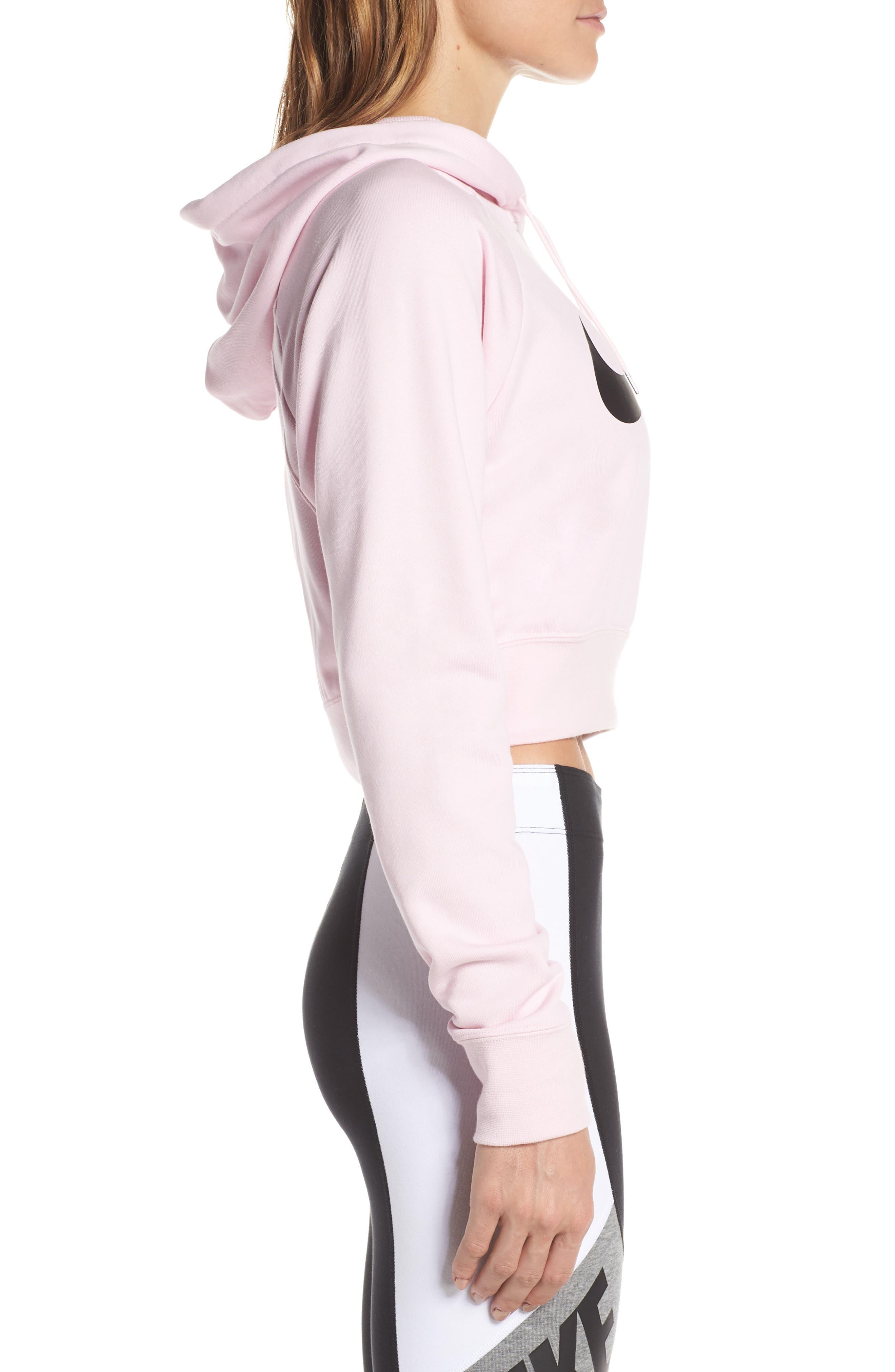 NIKE, Sportswear Women's Cropped Hoodie, Alternate thumbnail 4, color, PINK FOAM/ BLACK