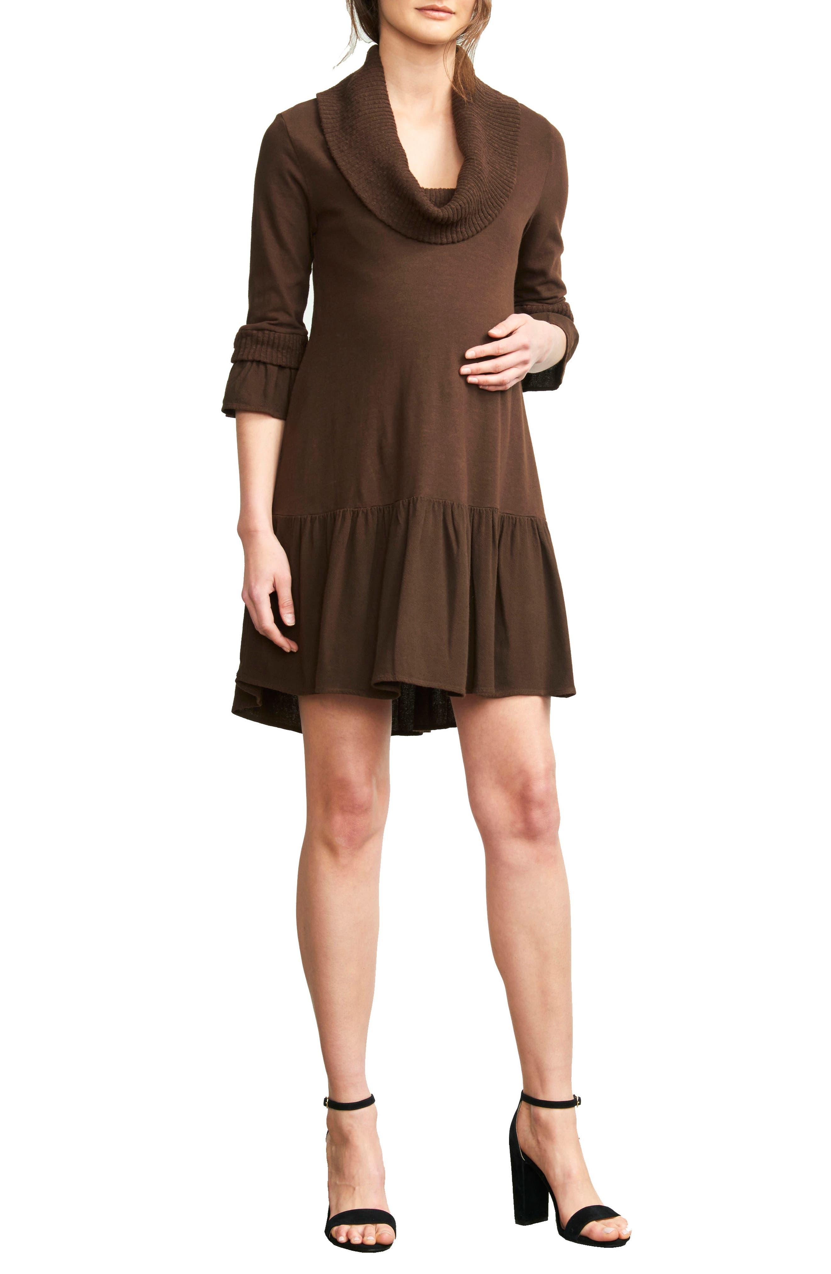 MATERNAL AMERICA, Cowl Neck Maternity Dress, Main thumbnail 1, color, CHOCOLATE