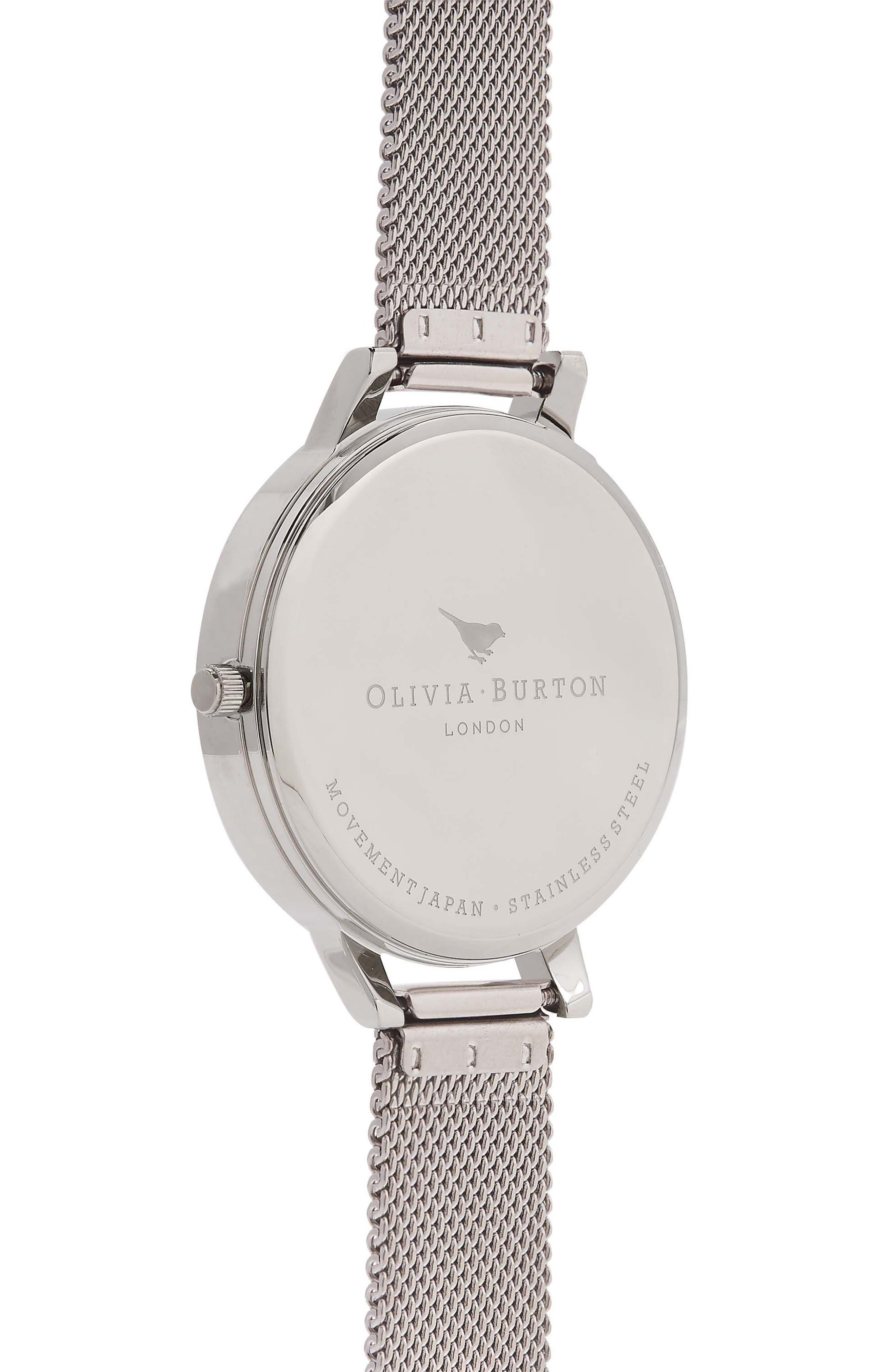 OLIVIA BURTON, Mesh Strap Watch, 38mm, Alternate thumbnail 3, color, SILVER/ WHITE/ ROSE GOLD