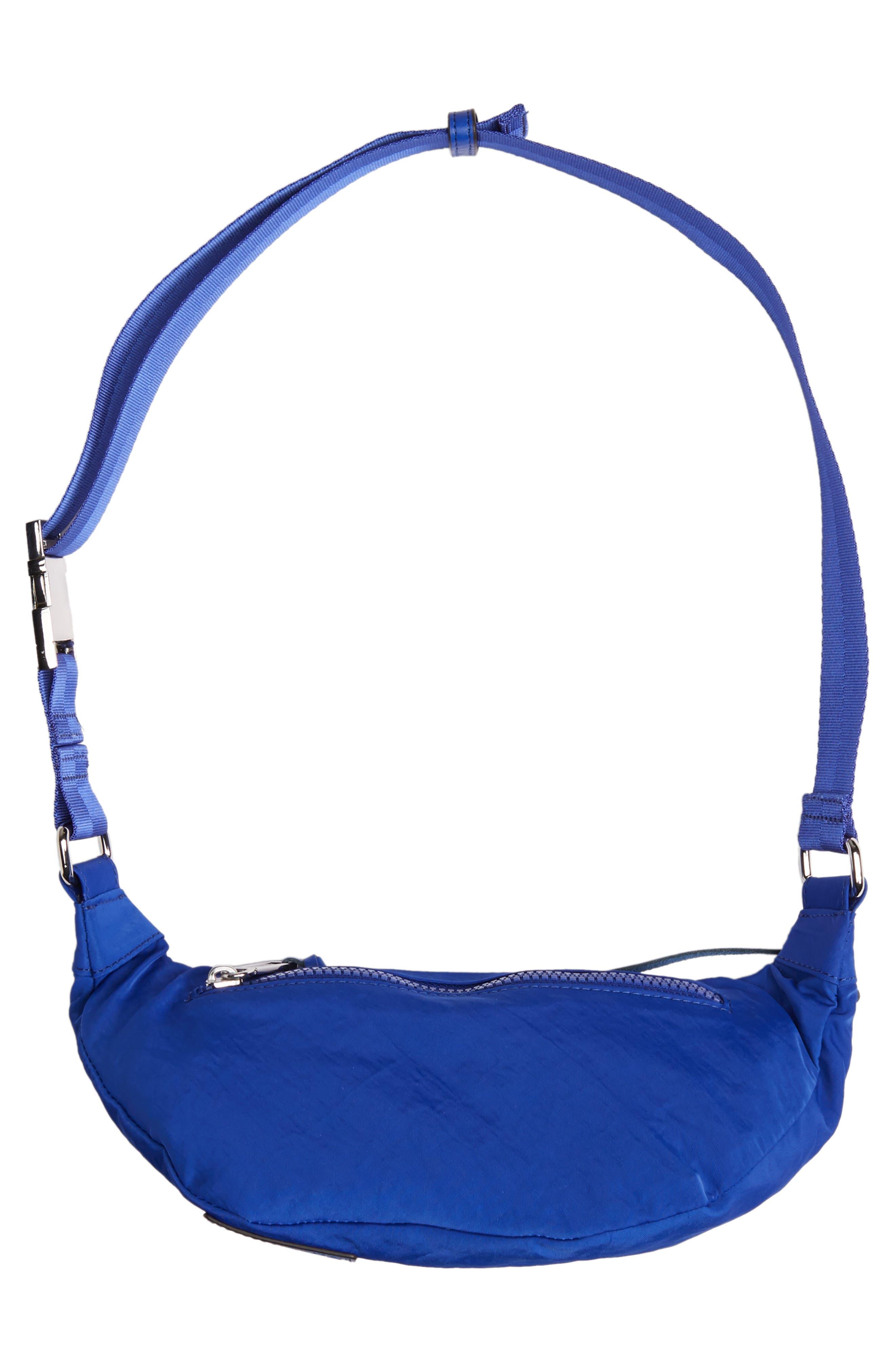 REBECCA MINKOFF, Nylon Belt Bag, Alternate thumbnail 8, color, BRIGHT BLUE