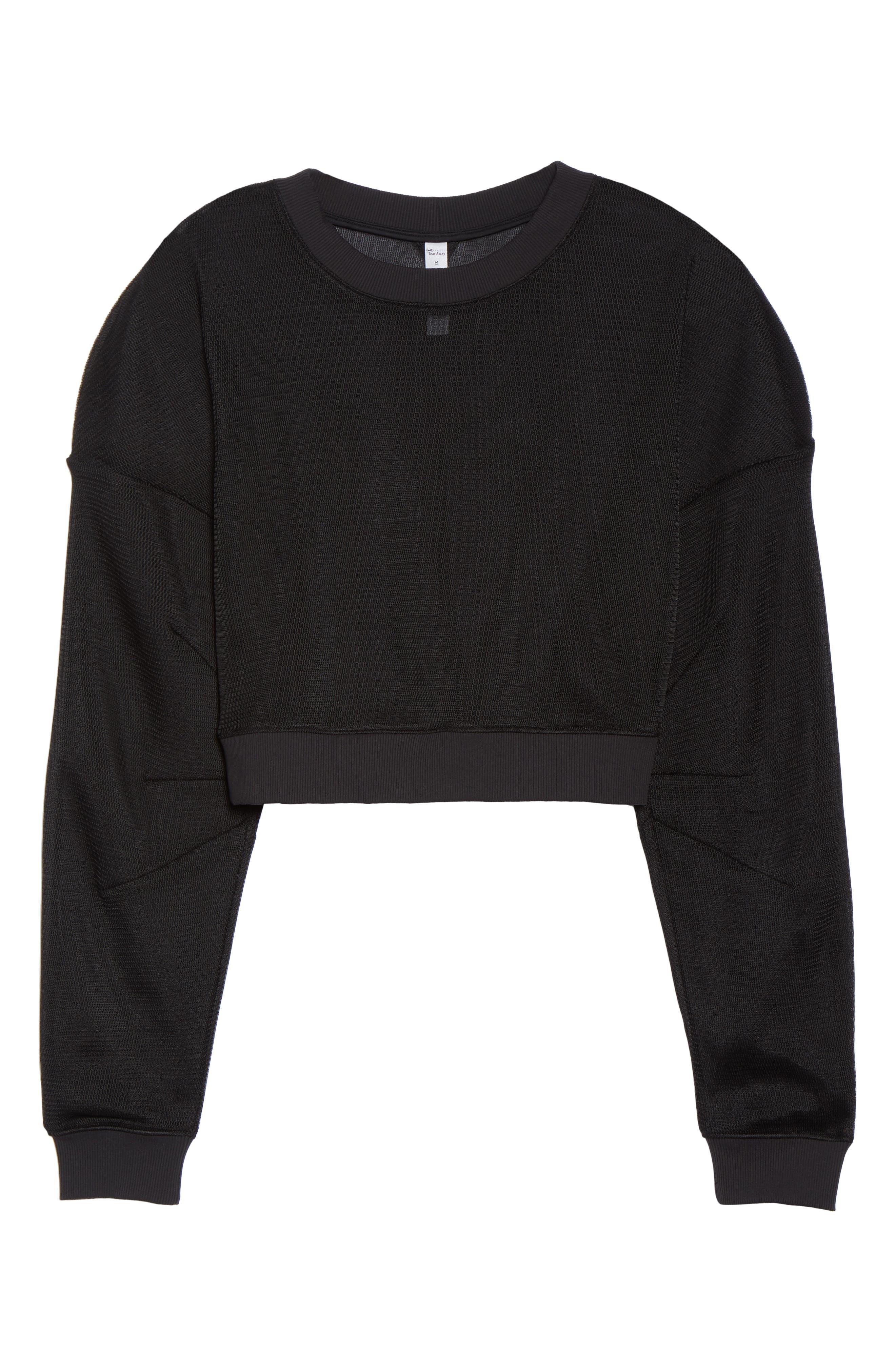 ALO, Row Long Sleeve Sweatshirt, Alternate thumbnail 6, color, BLACK