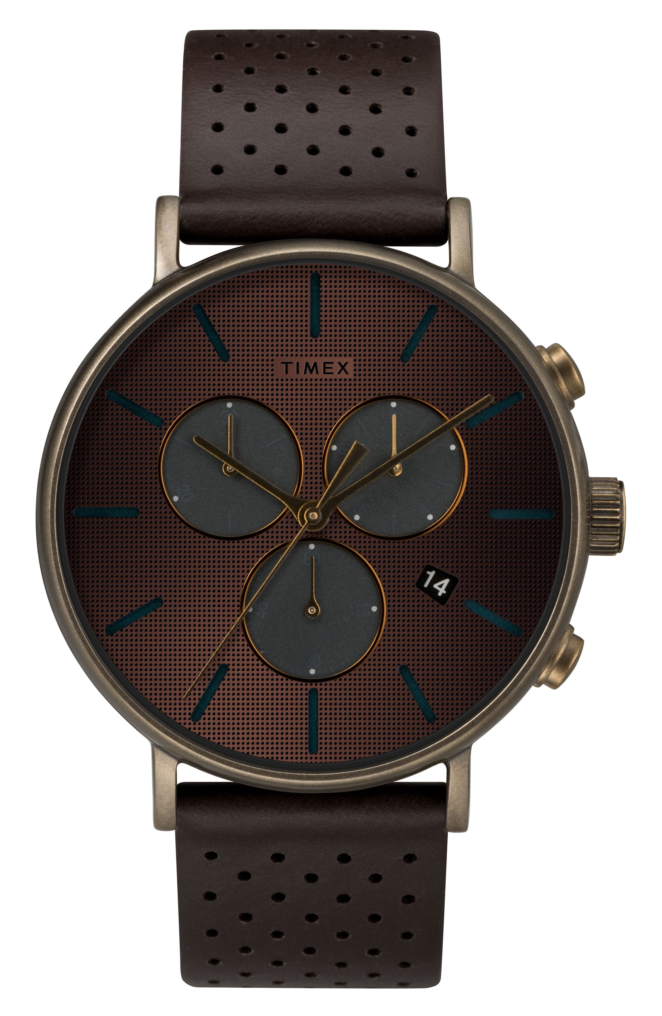 TIMEX<SUP>®</SUP> Fairfield Chronograph Leather Strap Watch, 41mm, Main, color, BROWN/ BRONZE