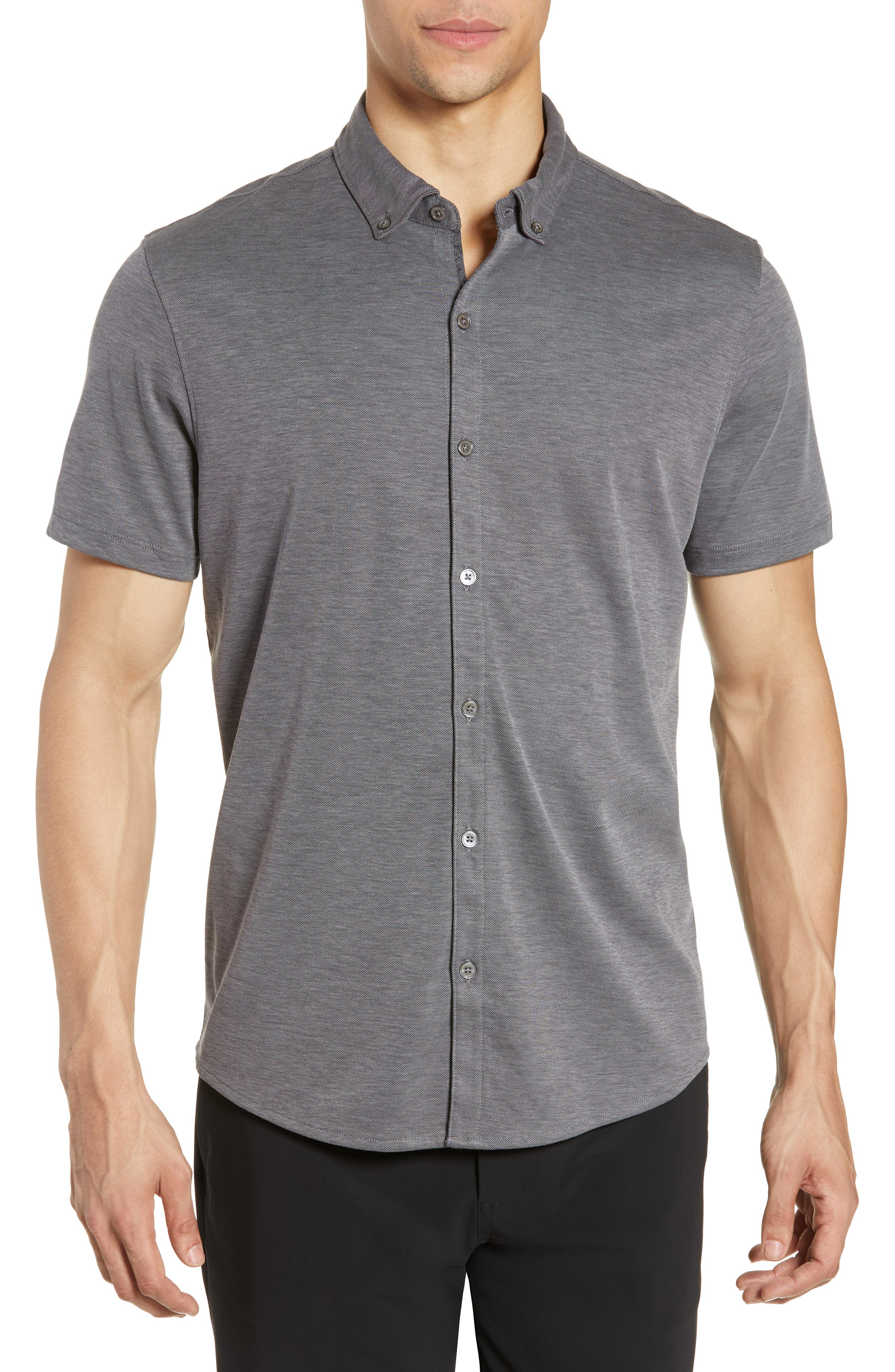 ZACHARY PRELL, Caruth Regular Fit Short Sleeve Sport Shirt, Main thumbnail 1, color, CHARCOAL