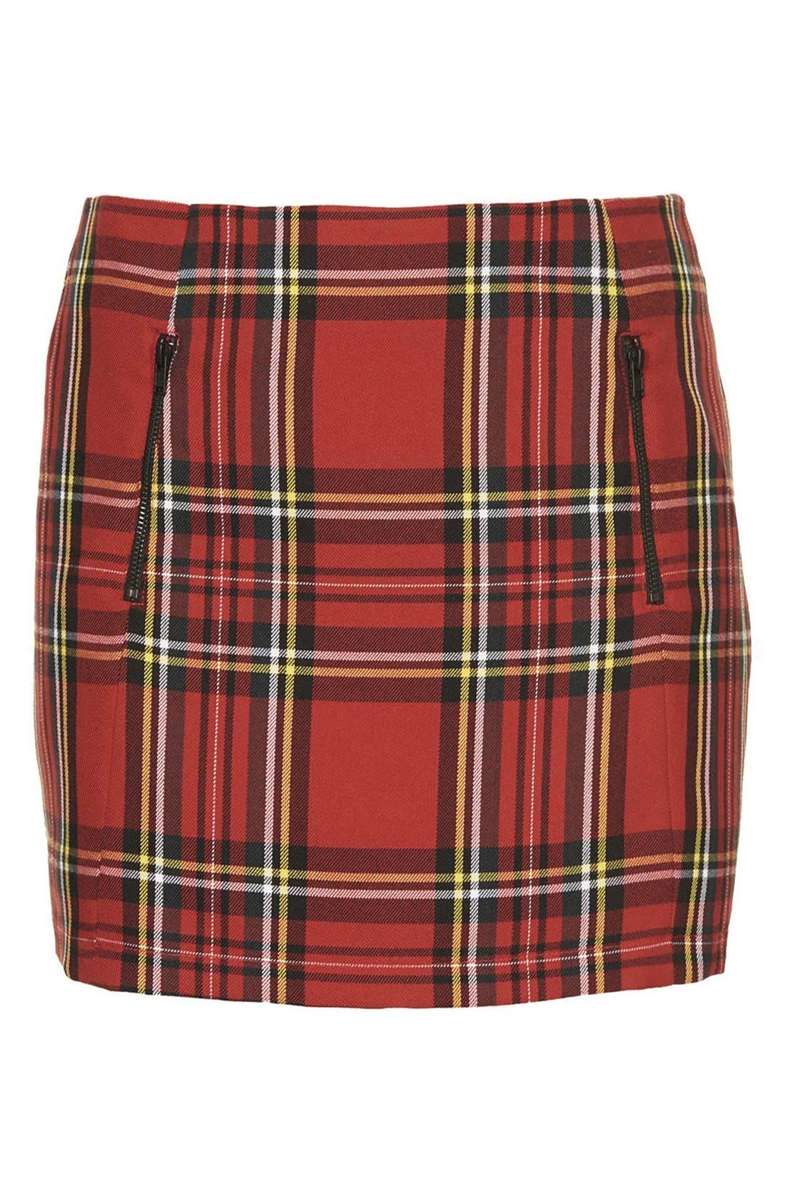 TOPSHOP, Tartan Plaid Skirt, Alternate thumbnail 4, color, 600