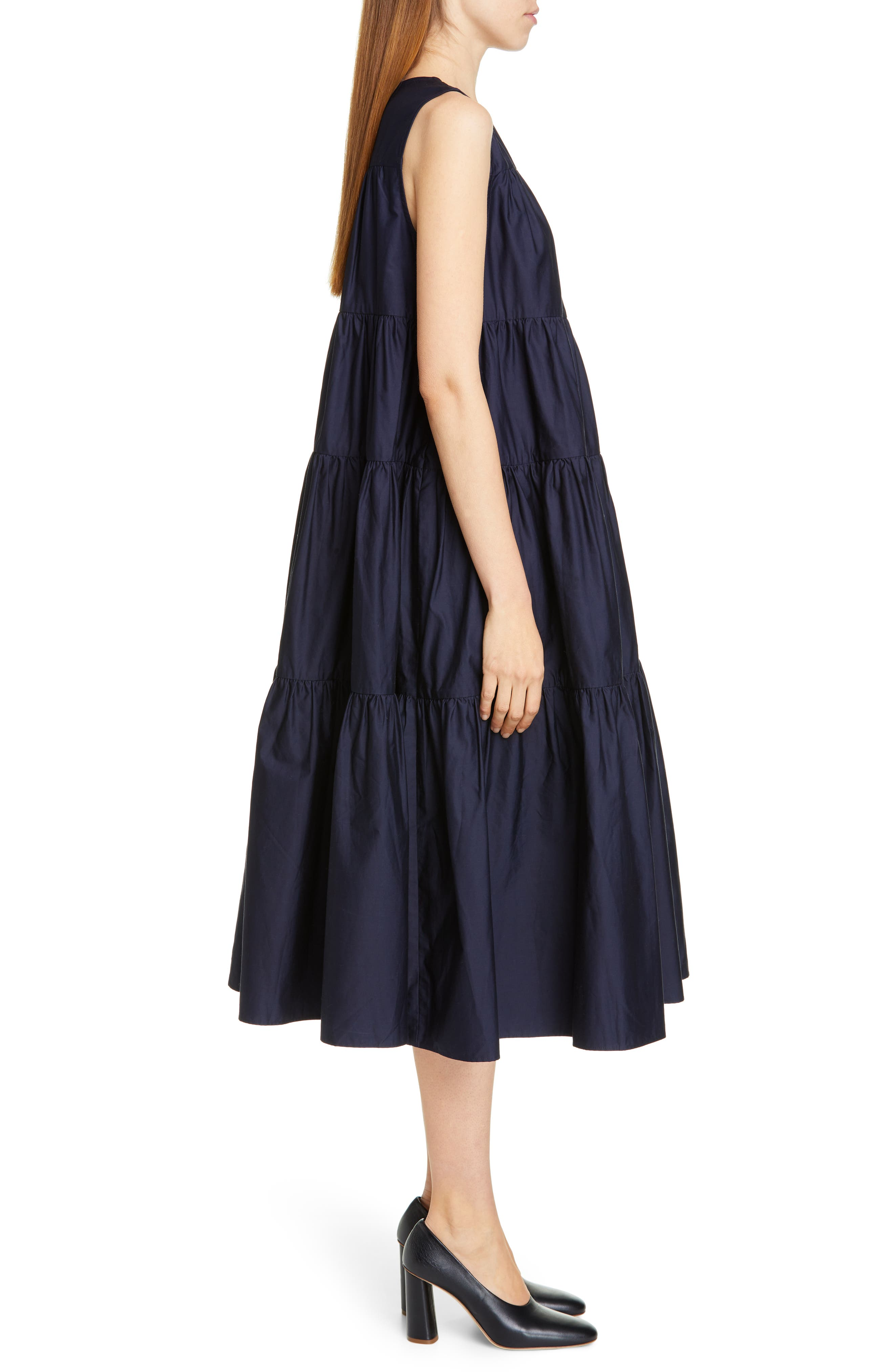 CO, Tiered Cotton Midi Dress, Alternate thumbnail 4, color, NAVY