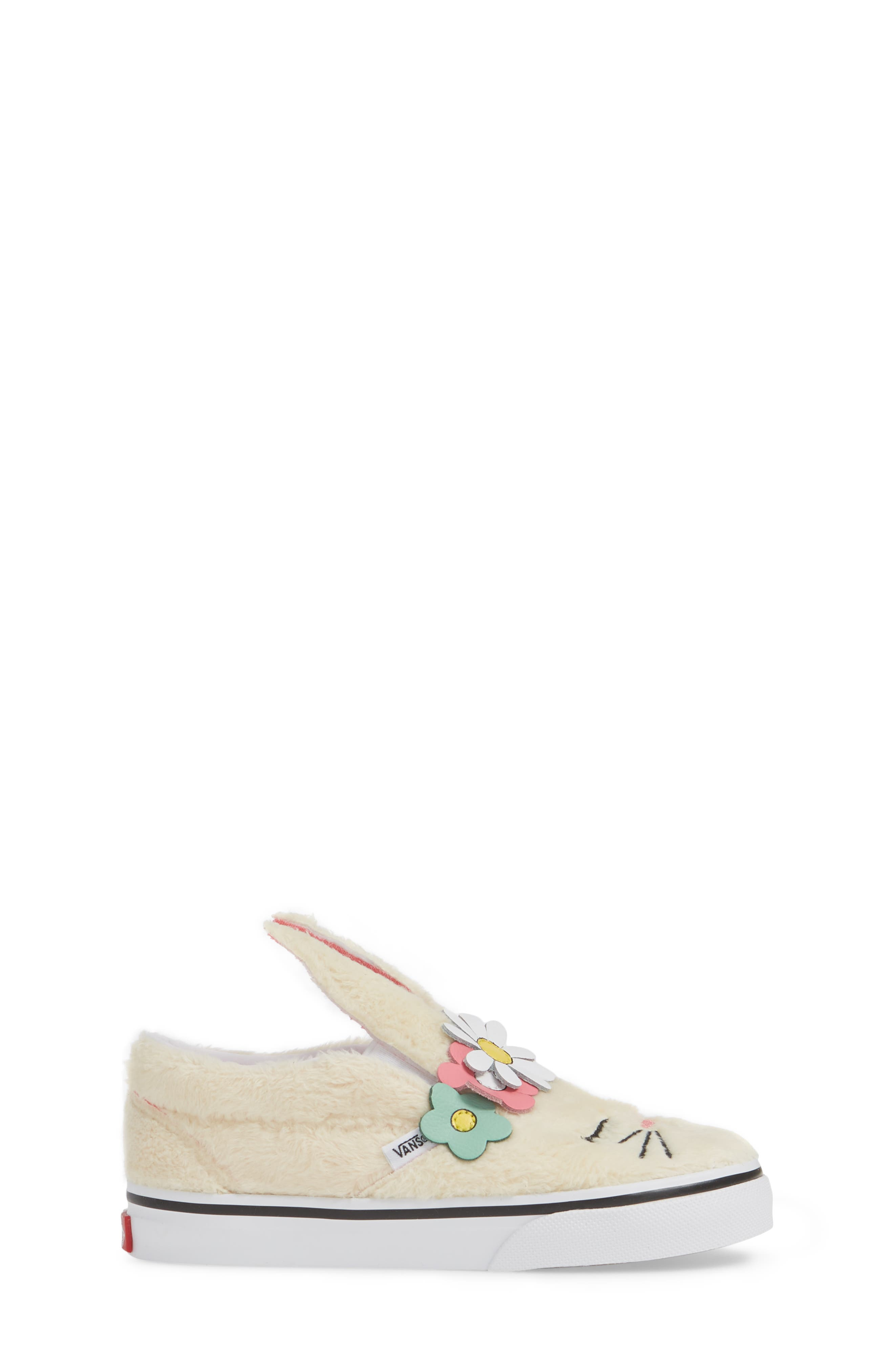 VANS, Slip-On Bunny Sneaker, Alternate thumbnail 3, color, VANILLA CUSTARD