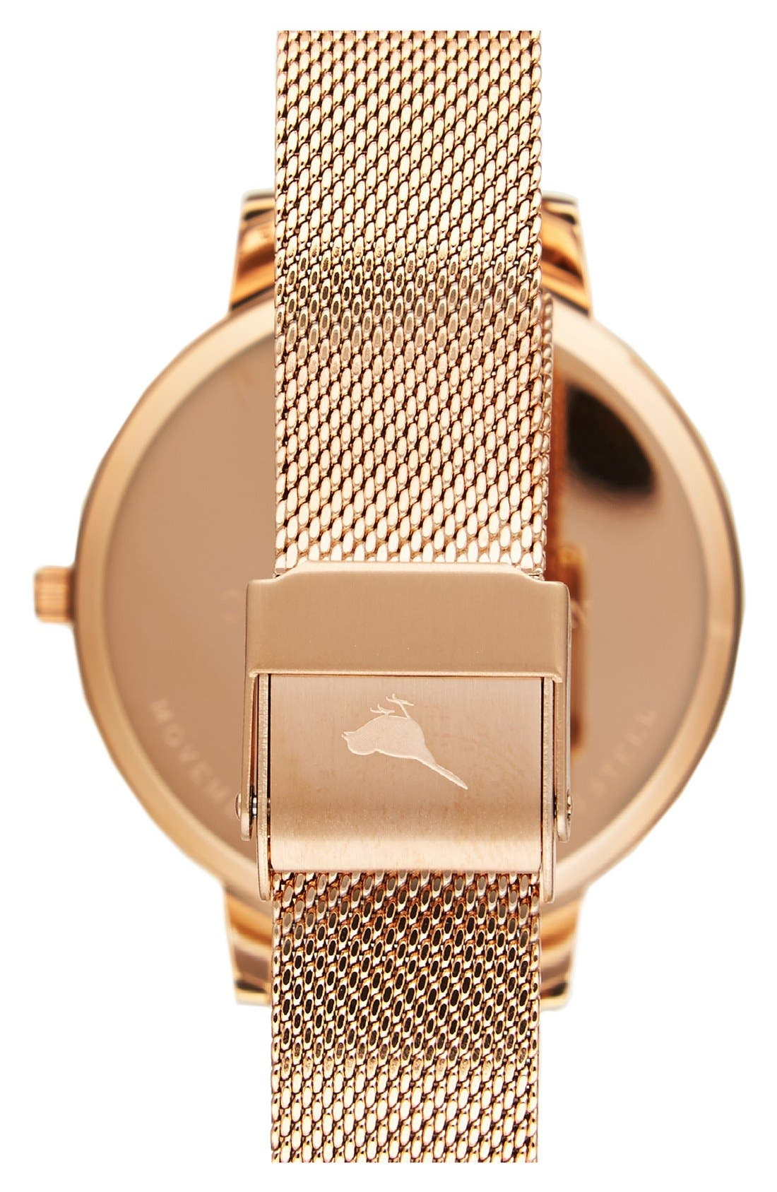 OLIVIA BURTON, 'Big Dial' Mesh Strap Watch, 38mm, Alternate thumbnail 7, color, ROSE GOLD/ WHITE