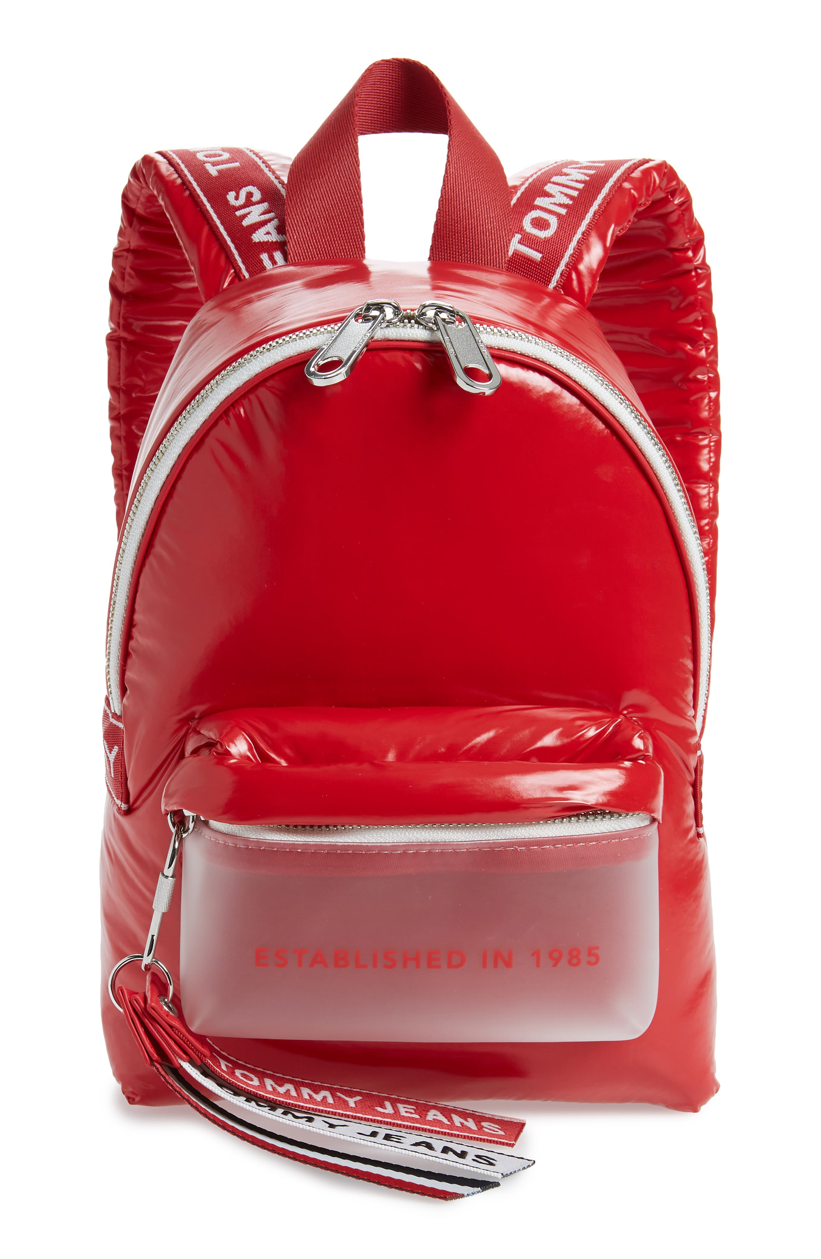 TOMMY JEANS, Logo Strap Vinyl Mini Backpack, Main thumbnail 1, color, 600