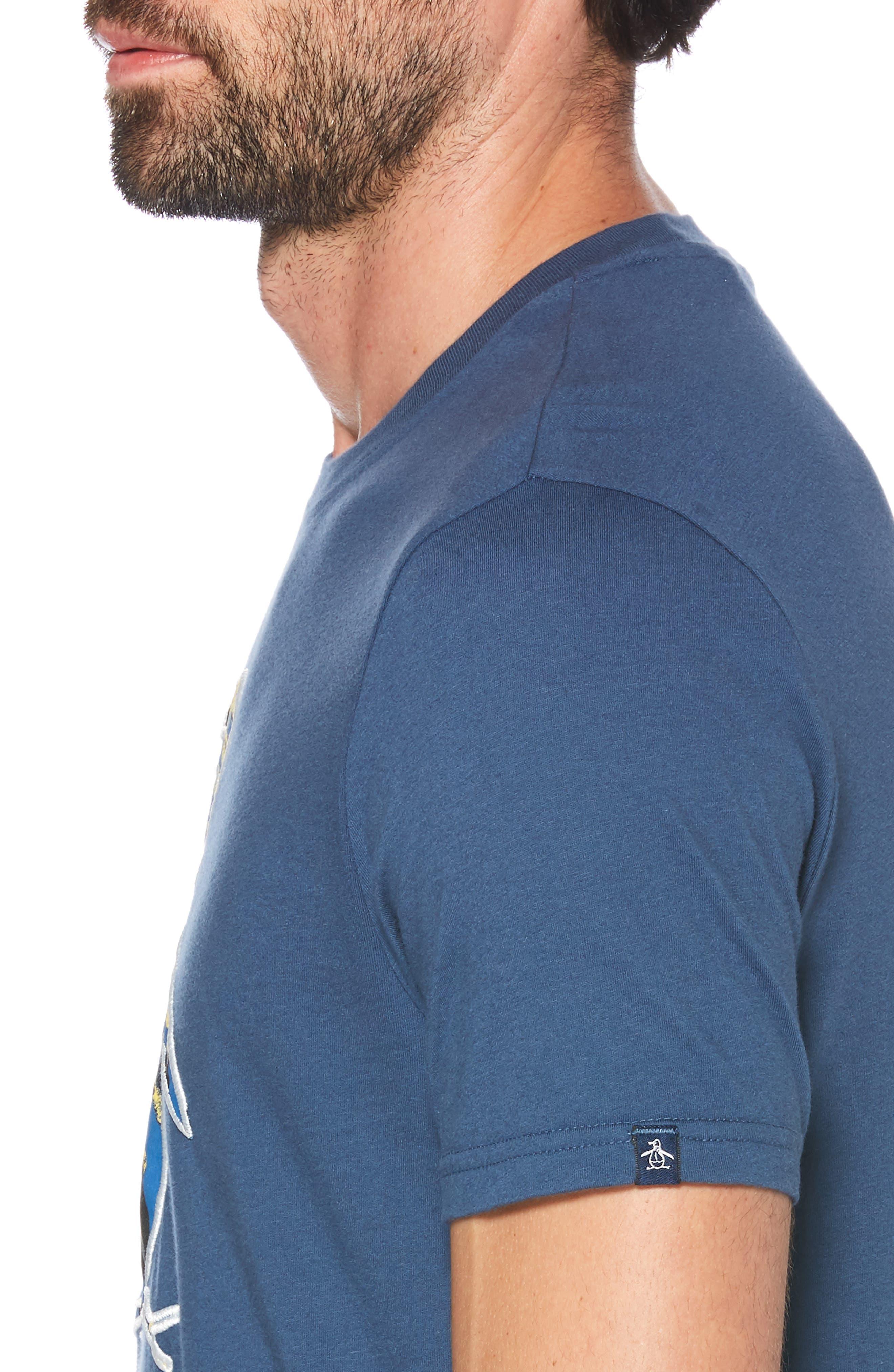 ORIGINAL PENGUIN, Leafy Infill Pete T-Shirt, Alternate thumbnail 3, color, DARK DENIM
