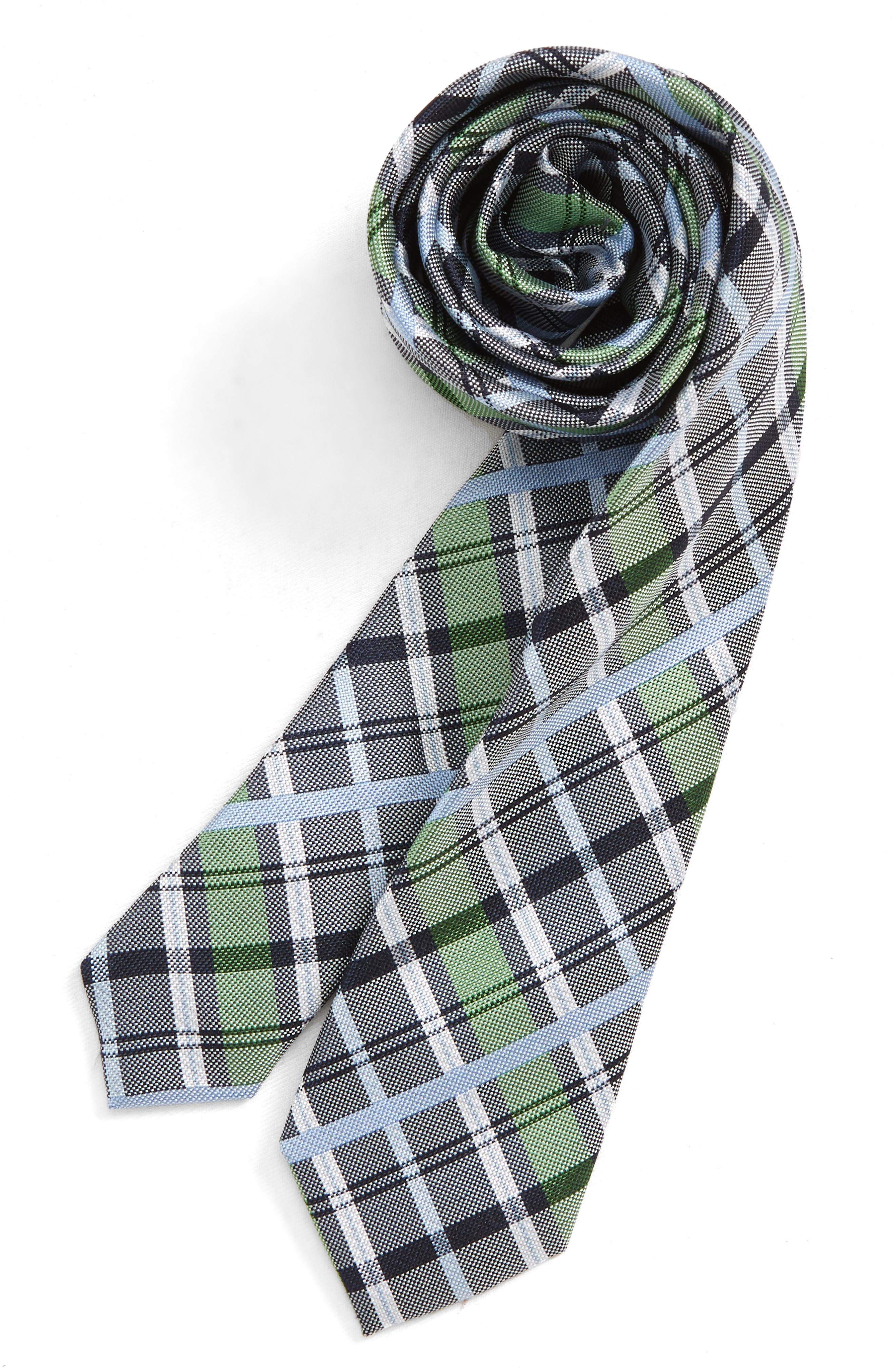 NORDSTROM, Zachary Plaid Silk Tie, Main thumbnail 1, color, GREEN