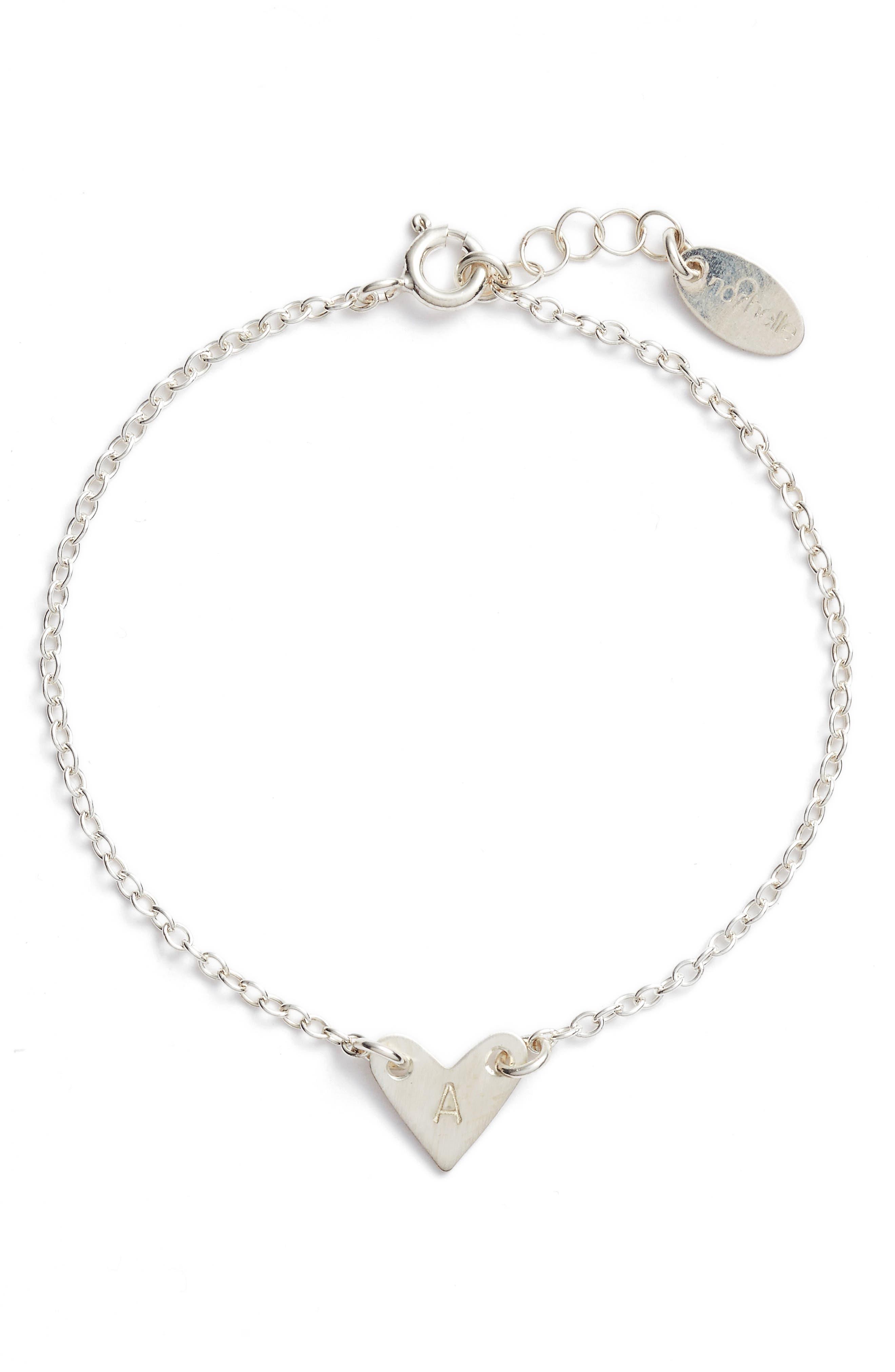 NASHELLE, Initial Heart Bracelet, Main thumbnail 1, color, SILVER-A