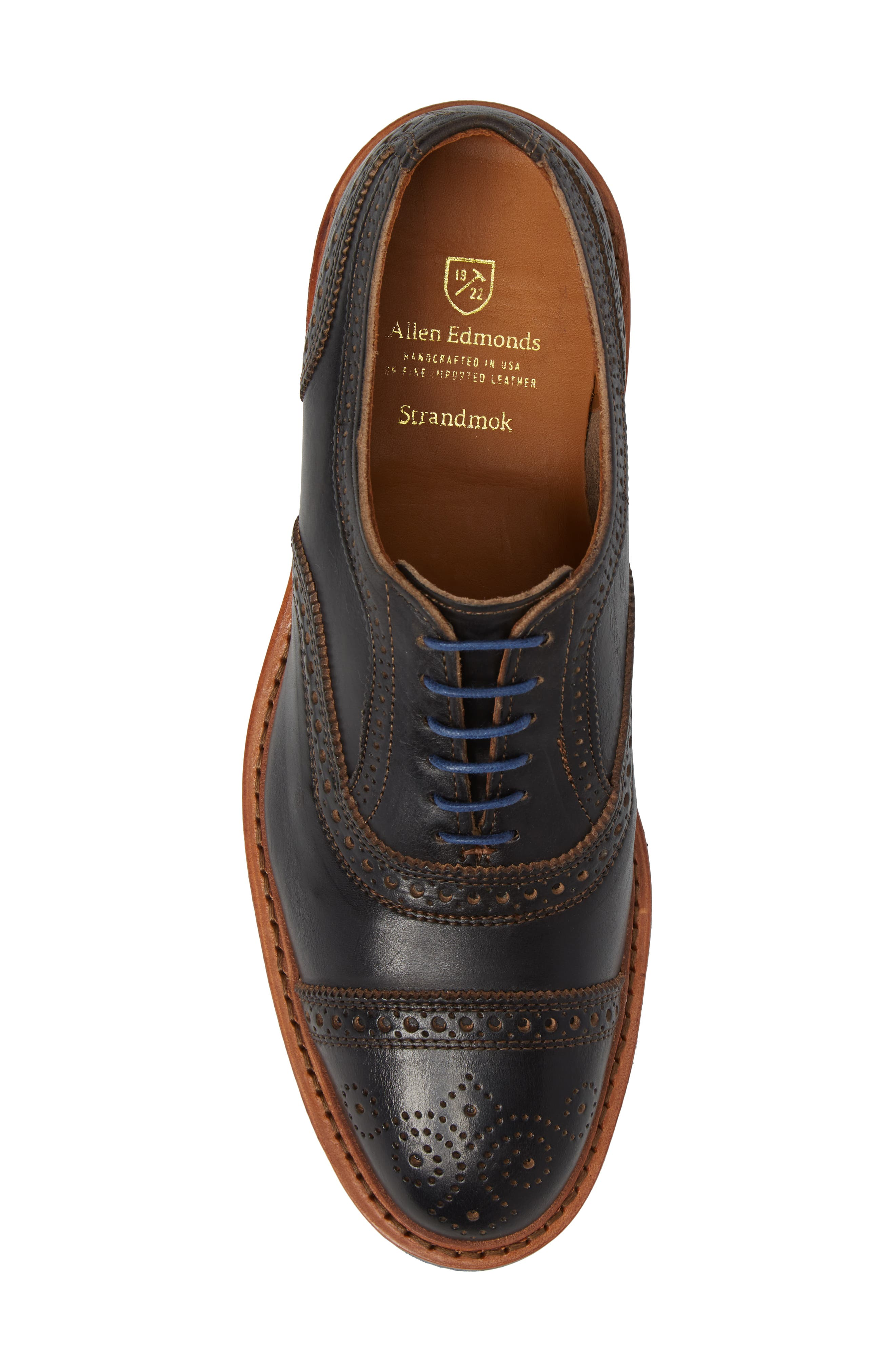 ALLEN EDMONDS, 'Strandmok' Cap Toe Oxford, Alternate thumbnail 5, color, BLACK LEATHER