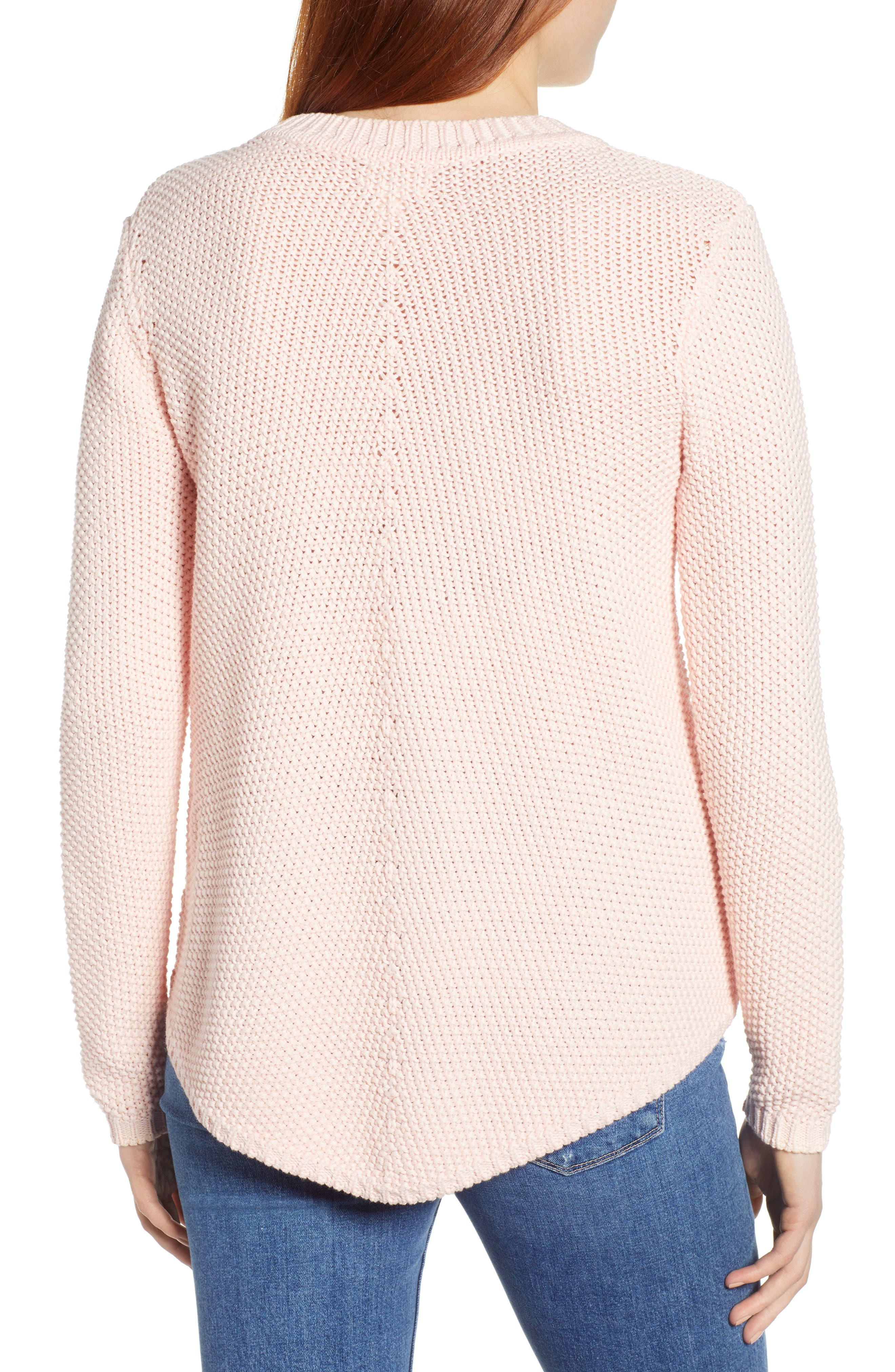 CASLON<SUP>®</SUP>, Stitch Stripe Sweater, Alternate thumbnail 2, color, PINK CHINTZ