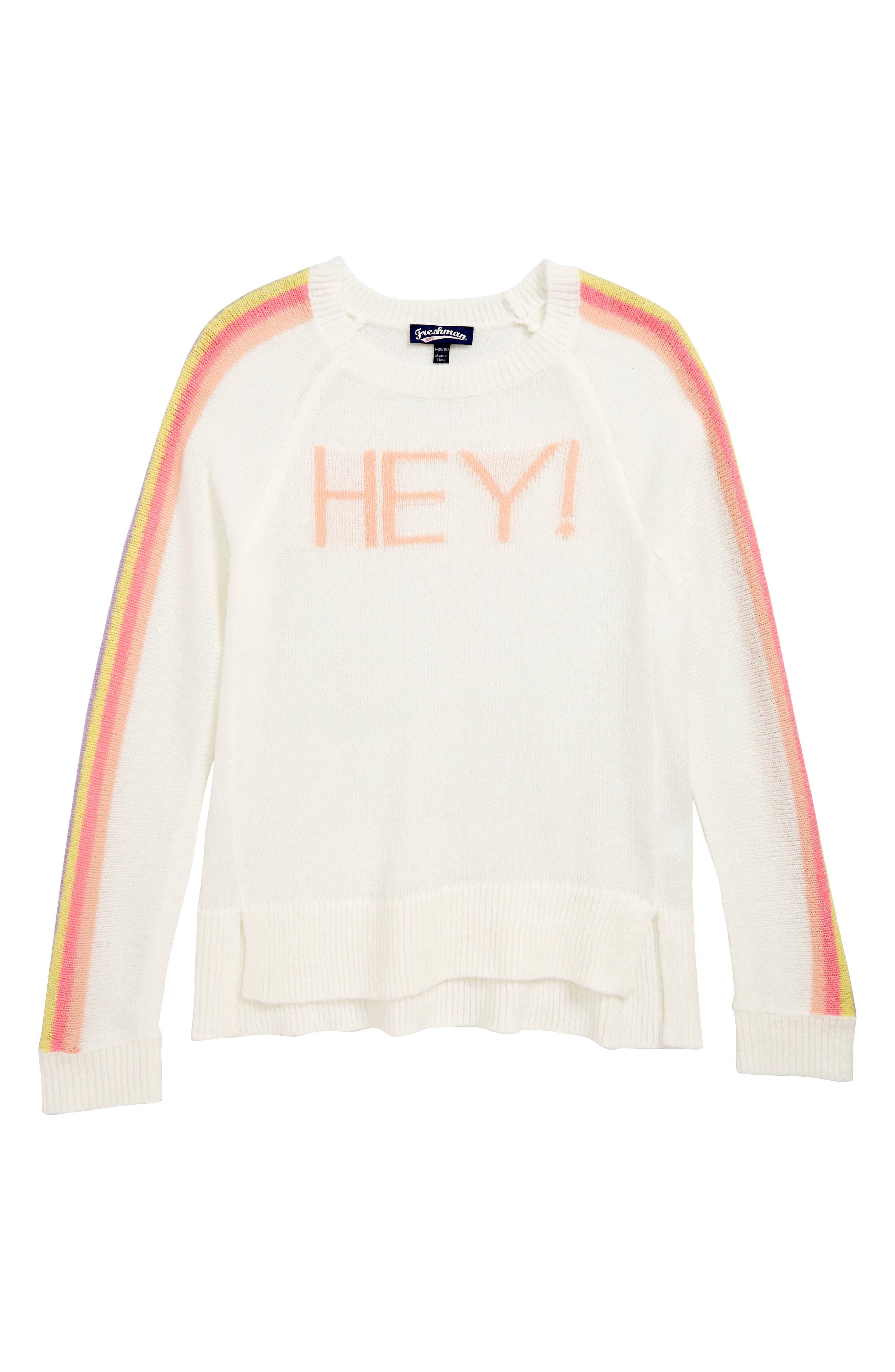 Girls Freshman Hey Rainbow Sweater Size L (1214)  Ivory