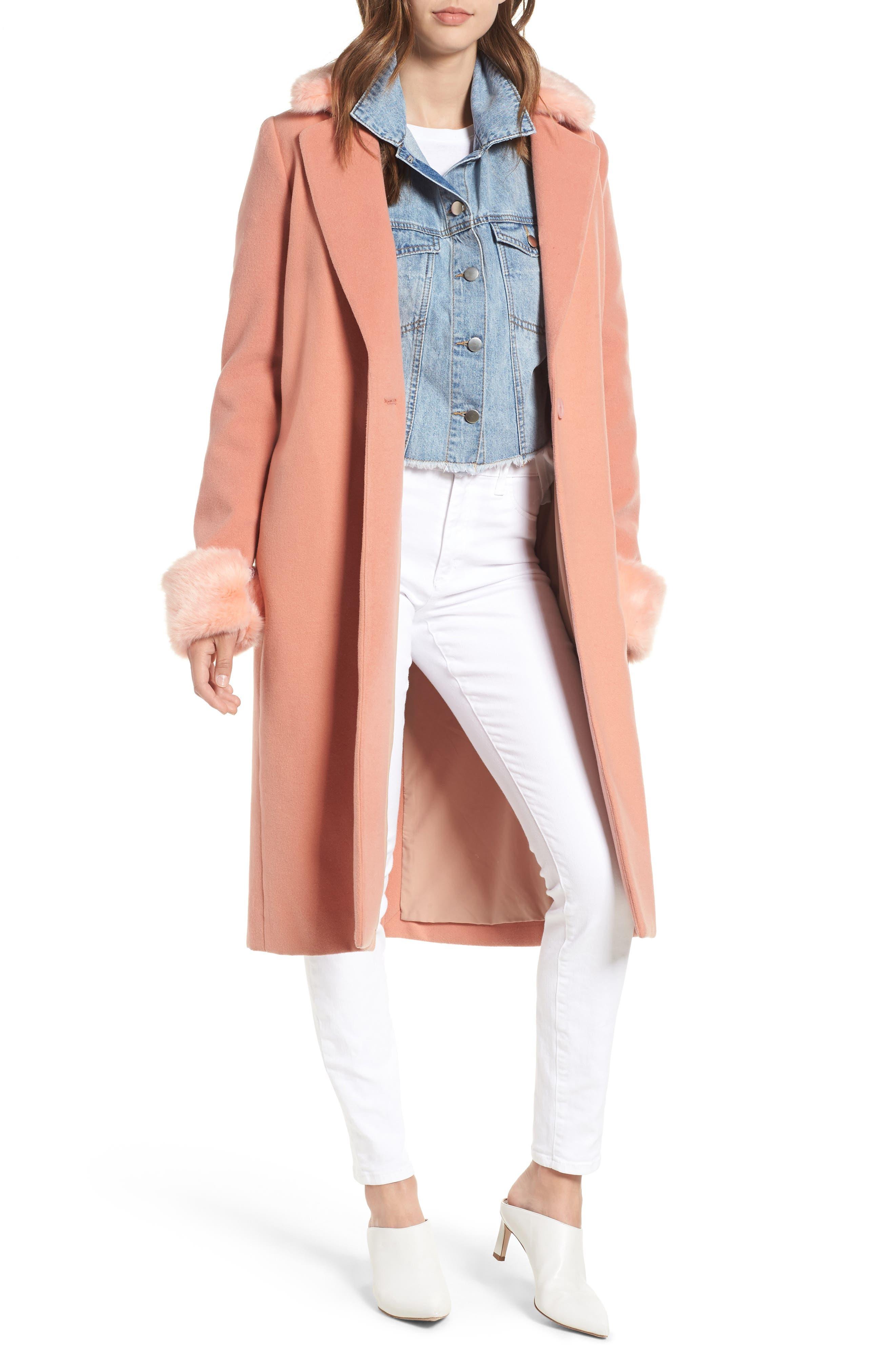 WAYF Perry Faux Fur Trim Coat, Main, color, 950