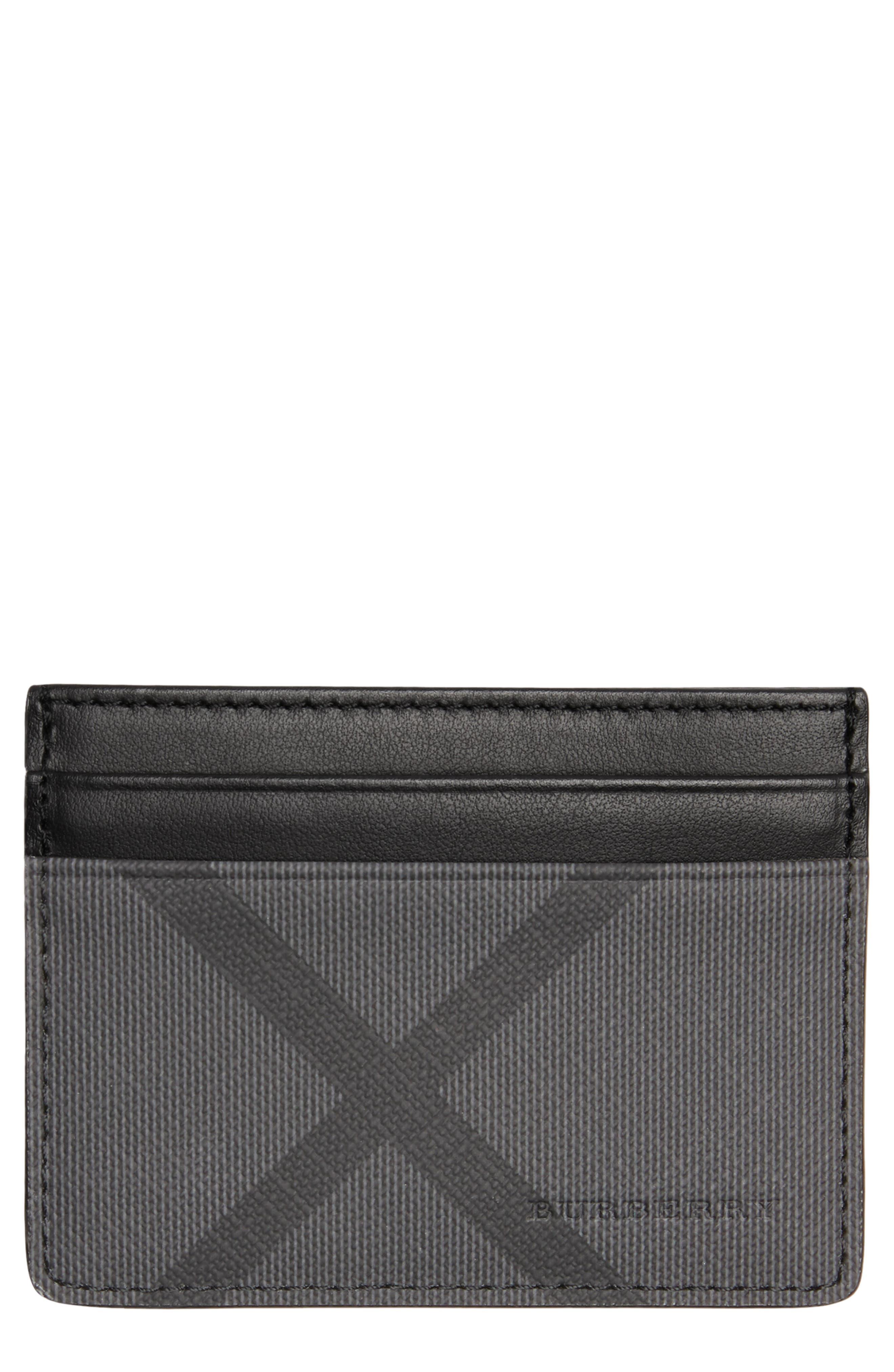 BURBERRY Sandon Card Case, Main, color, CHARCOAL/ BLACK