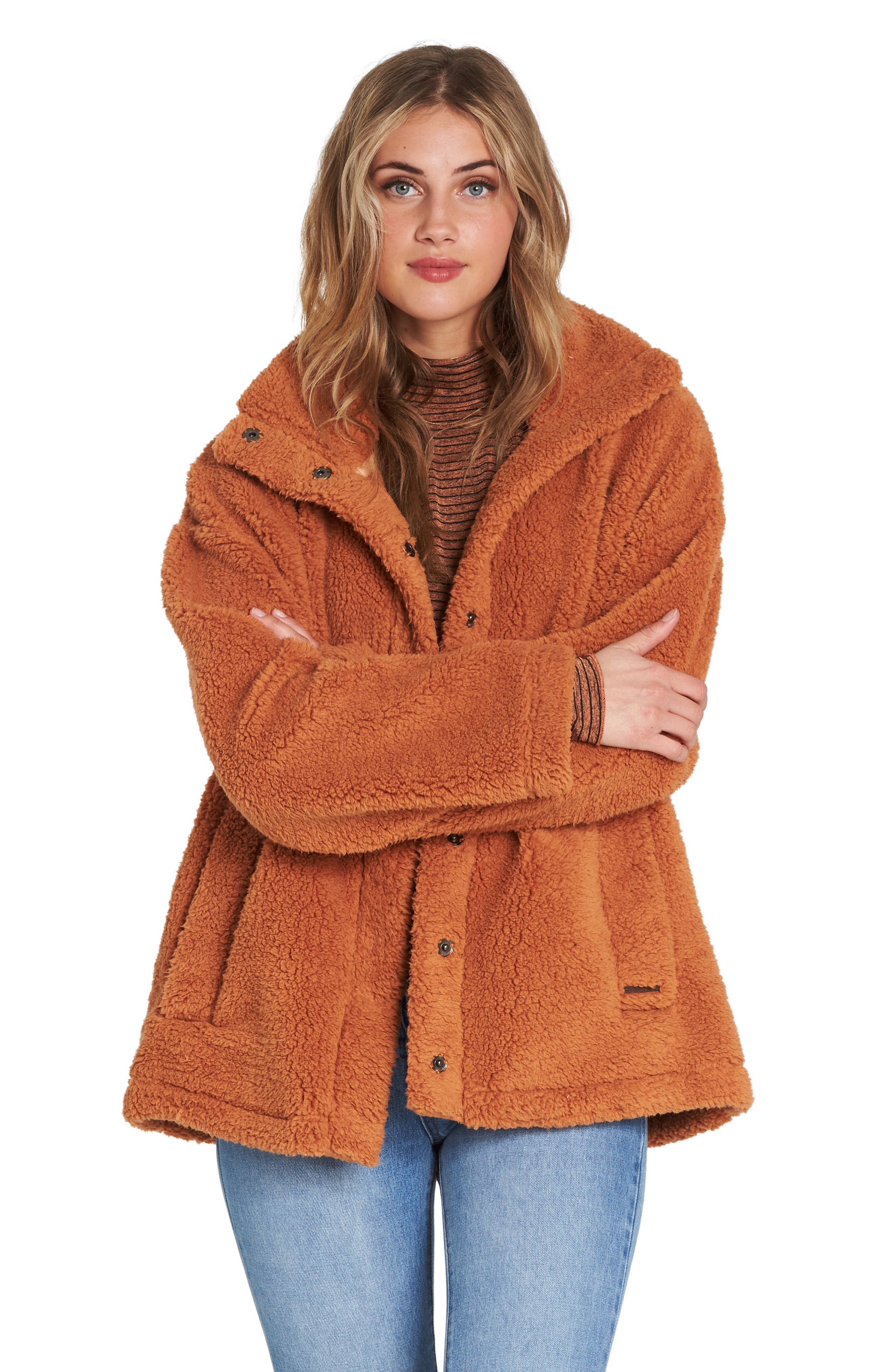 BILLABONG, Cozy Days Faux Fur Jacket, Alternate thumbnail 4, color, TOFFEE