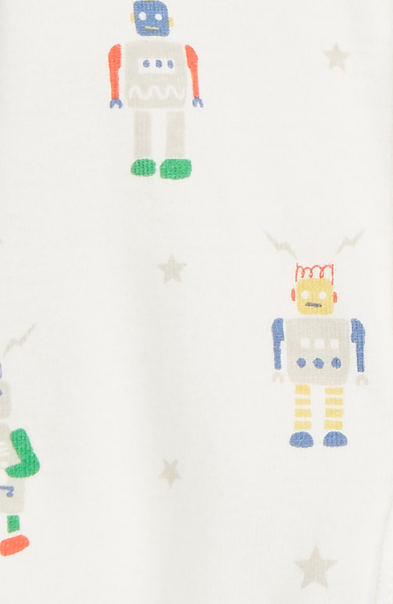 MINI BODEN, Robot Print Fitted One-Piece Footie Pajamas, Alternate thumbnail 2, color, MULTI ROBOTS