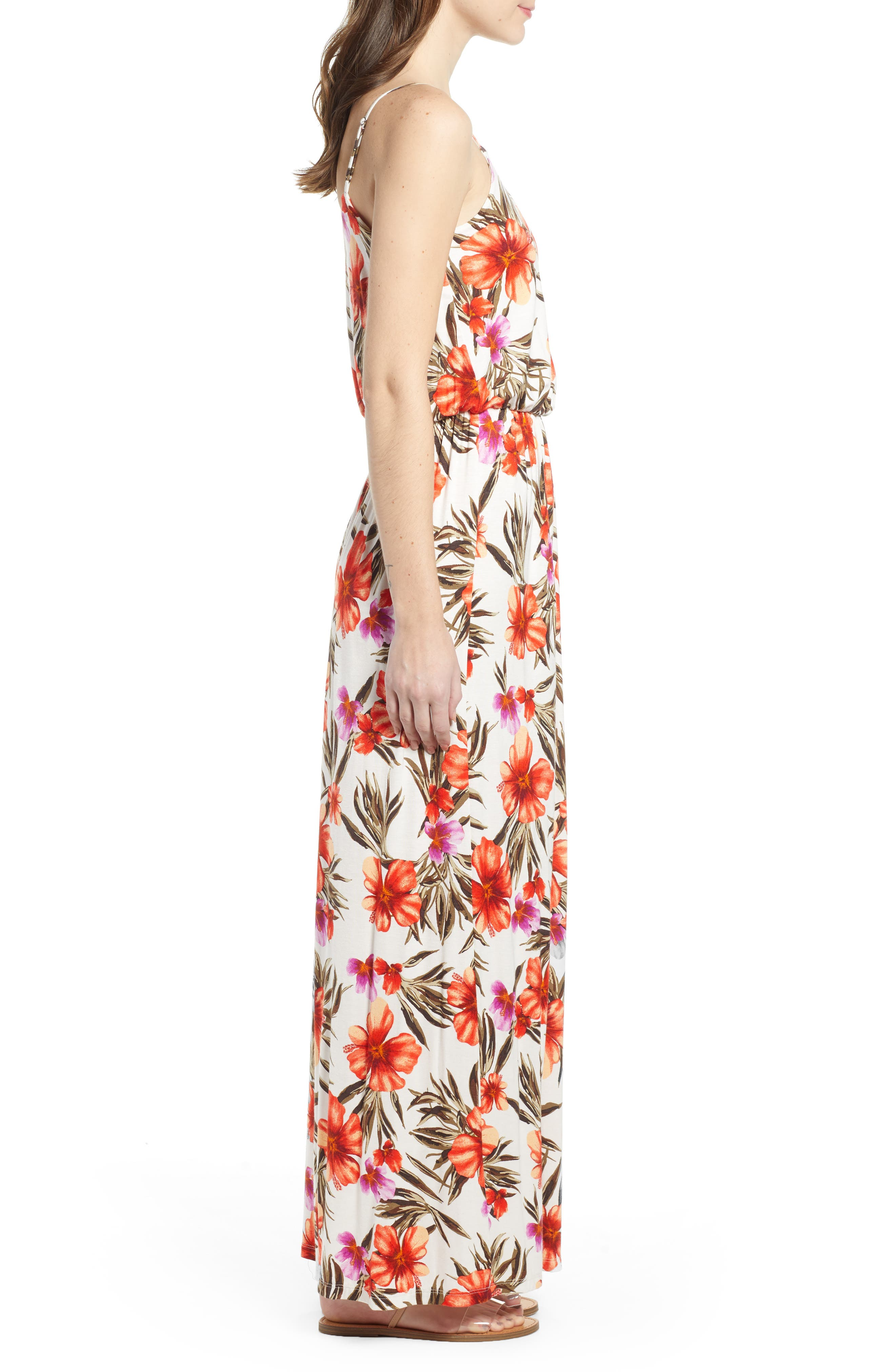 ALL IN FAVOR, Knit Maxi Dress, Alternate thumbnail 4, color, OFF WHITE/HOT CORAL