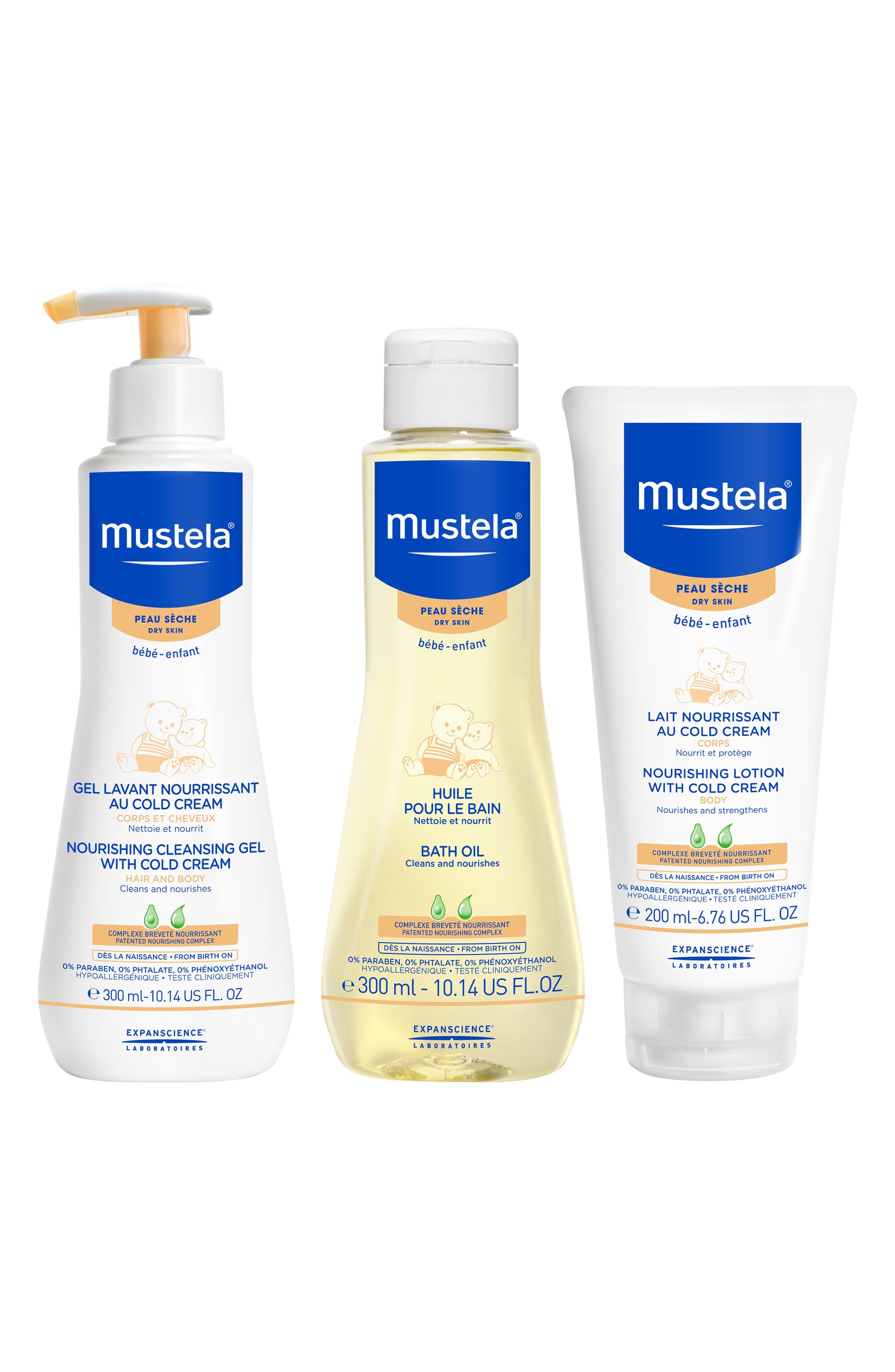 MUSTELA<SUP>®</SUP>, Dry Skin Bath Time Set, Main thumbnail 1, color, WHITE