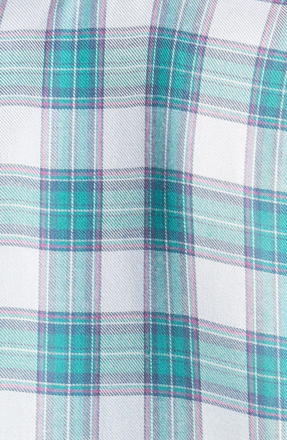 WAYF, Long Sleeve Plaid Blouse, Alternate thumbnail 4, color, 060
