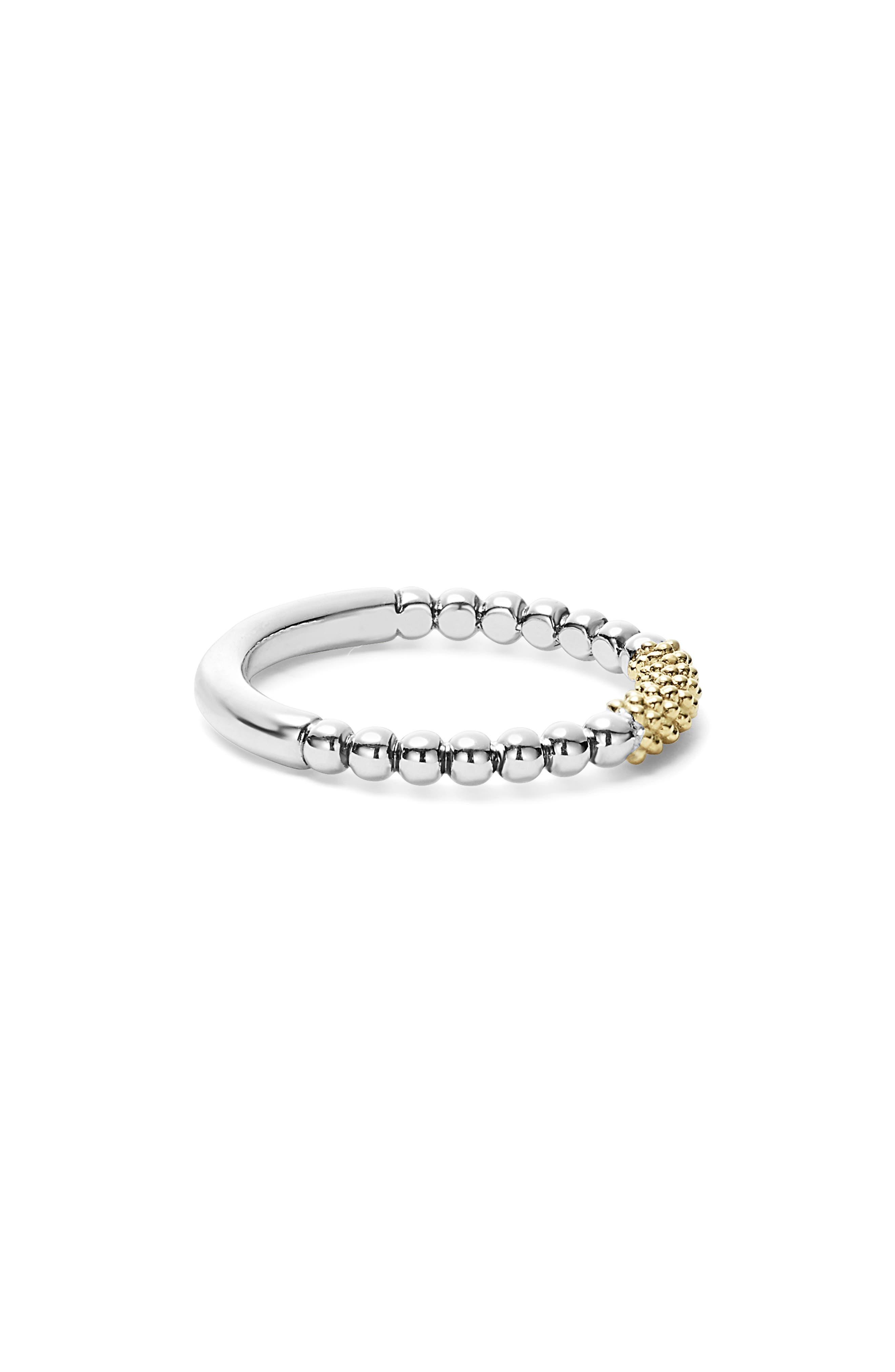LAGOS, 'Caviar Icon' Stacking Ring, Alternate thumbnail 4, color, SILVER/ GOLD